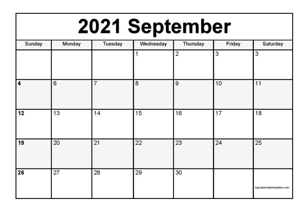 Free September 2021 Printable Calendar - Monthly Templates September 2021 Calendar Image