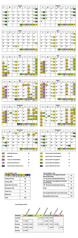 Horse Racing Alberta Announces Race Dates For 2021 (Update-2) June 2021 Calendar Canada