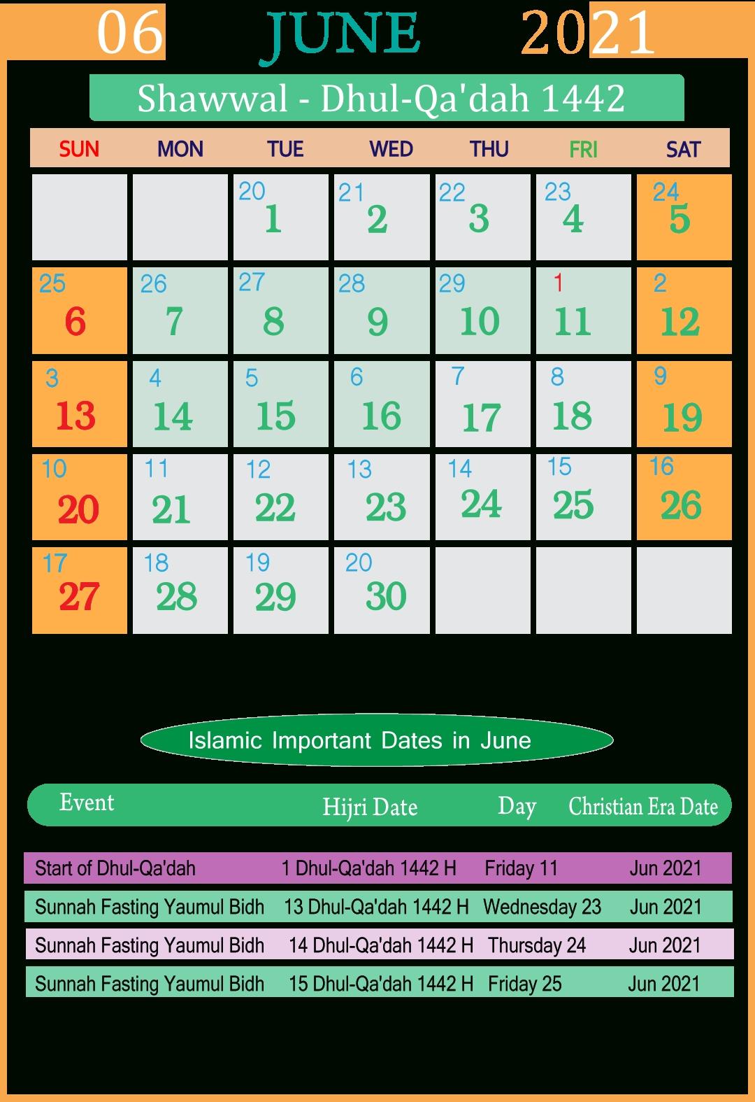 Islamic Calendar 2021 June | Seg July 2021 Islamic Calendar