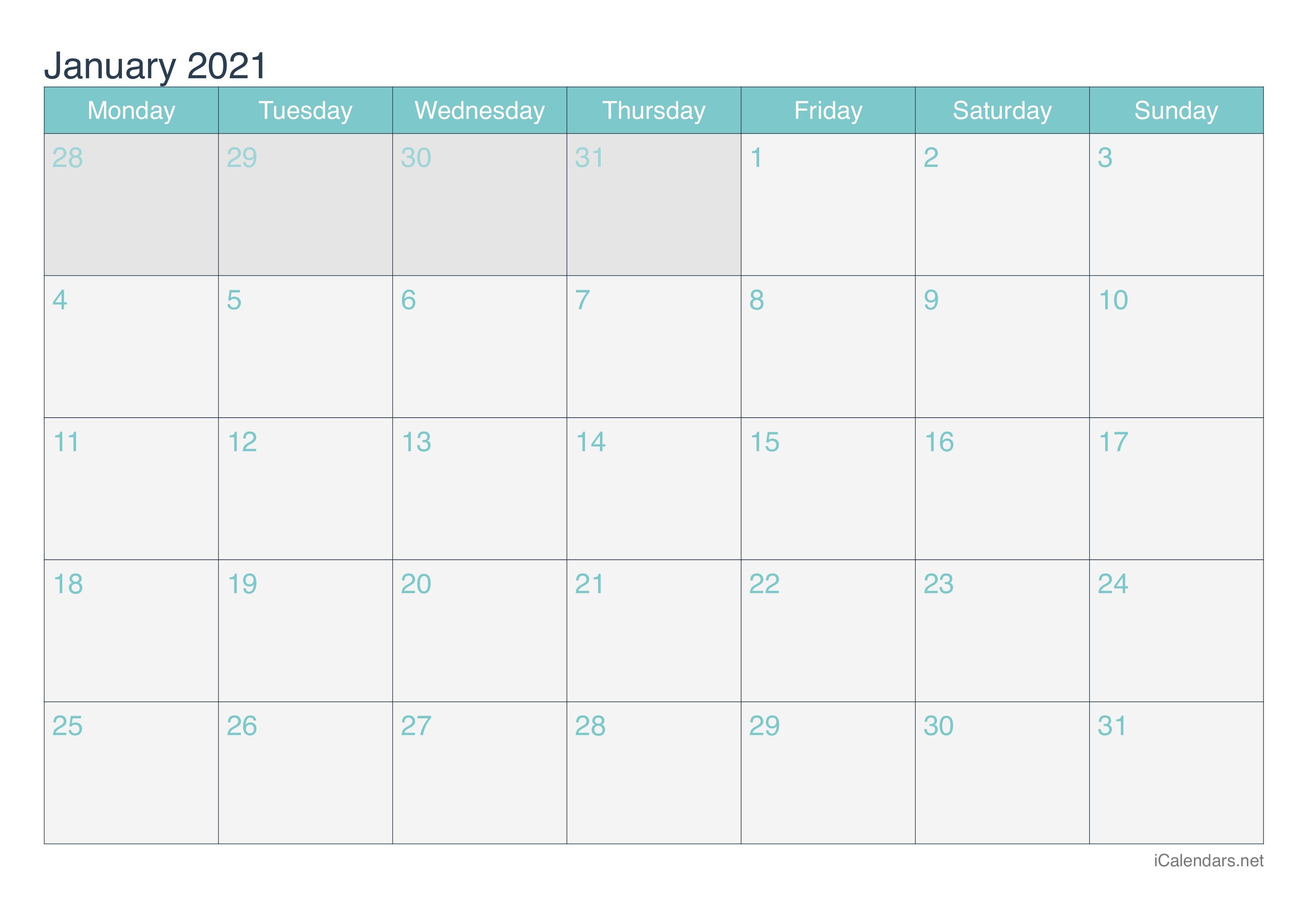 January 2021 Printable Calendar - Icalendars Printable January Through December 2021 Calendar