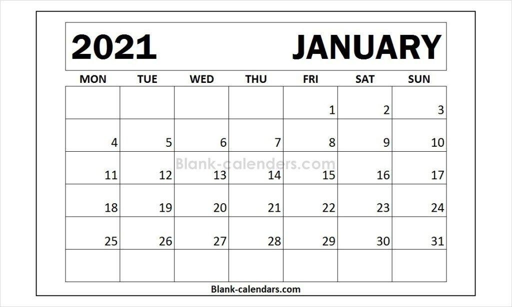 January February 2021 Calendar Monday To Friday   Printable Calendar Design January Thru December 2021 Calendar