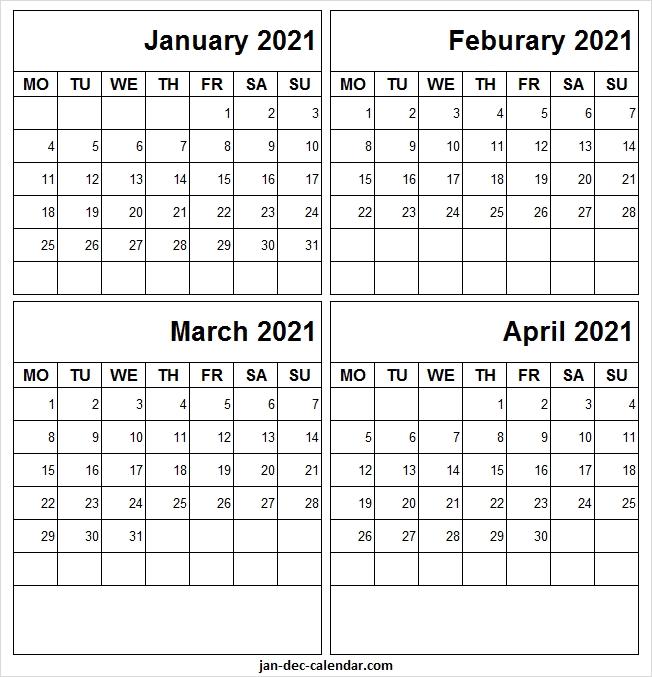 January To April 2021 Blank Calendar - Jan 2021 Printable Free Template January Thru December 2021 Calendar
