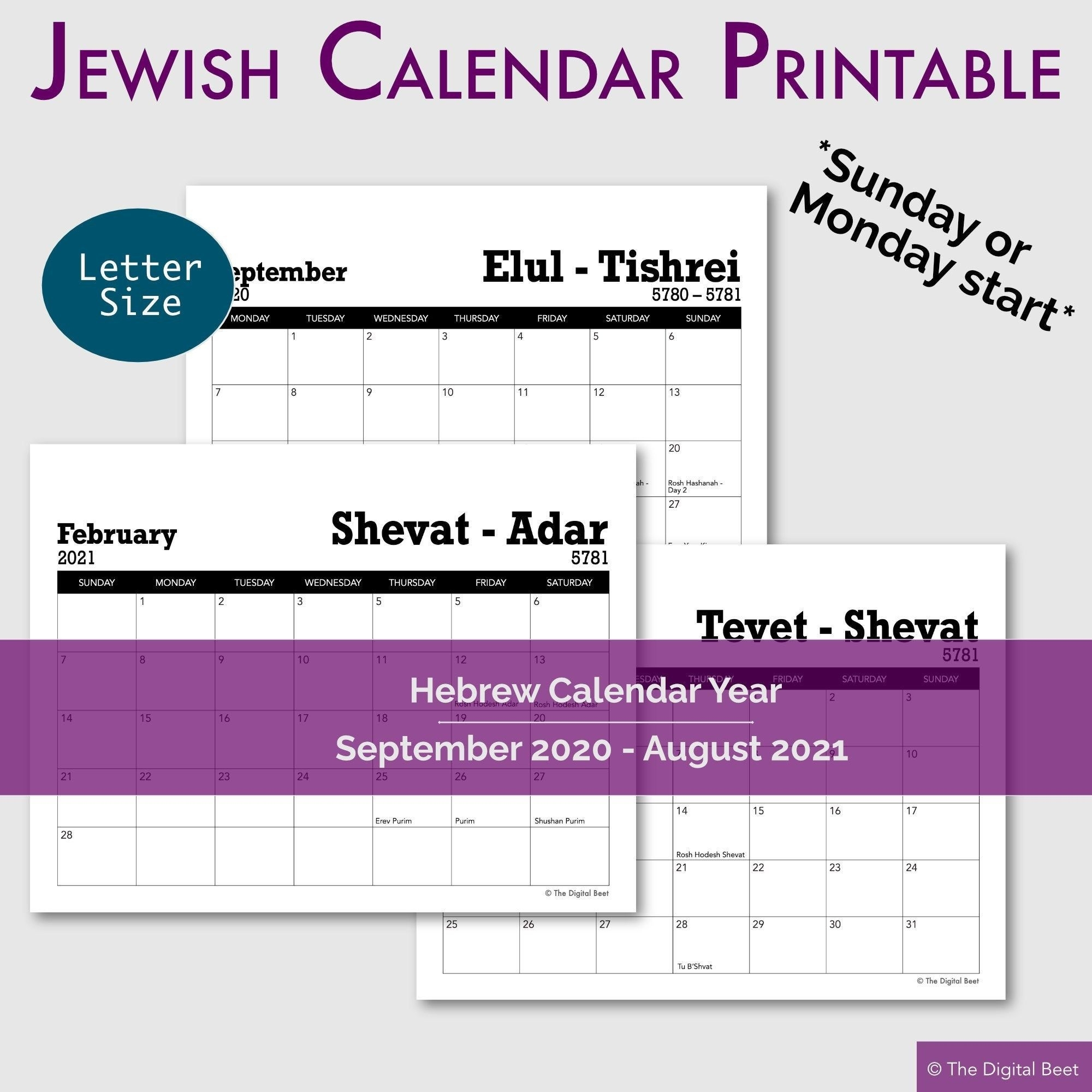 Jewish Holidays Hebrew Year Calendar 12-Month Printable   Etsy In 2020   Jewish Holidays Hebrew Calendar September 2021
