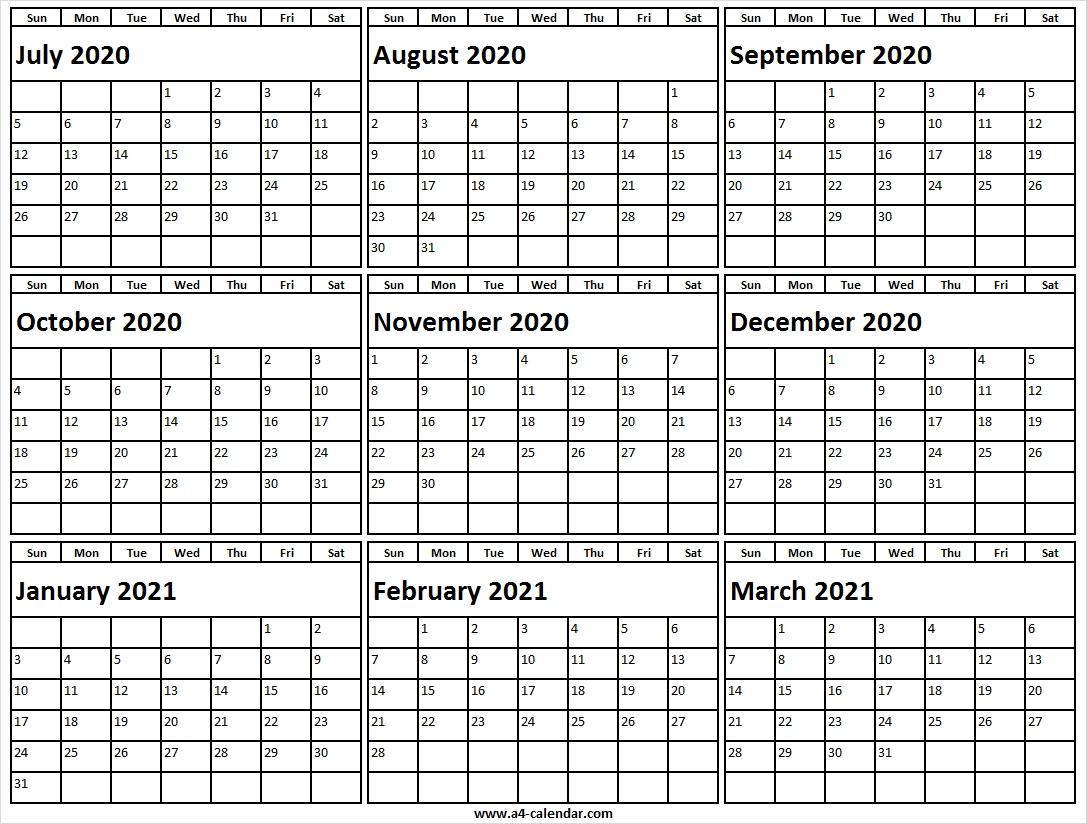 July 2020 To March 2021 Calendar A4 Size - Blank Calendar Template July 2021 Calendar Vertical