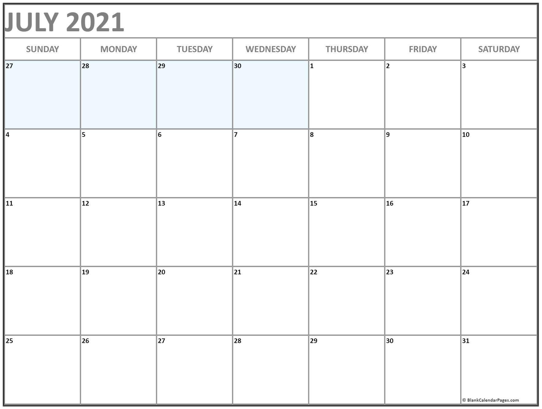 July 2021 Blank Calendar Templates. Blank July 2021 Calendar Printable