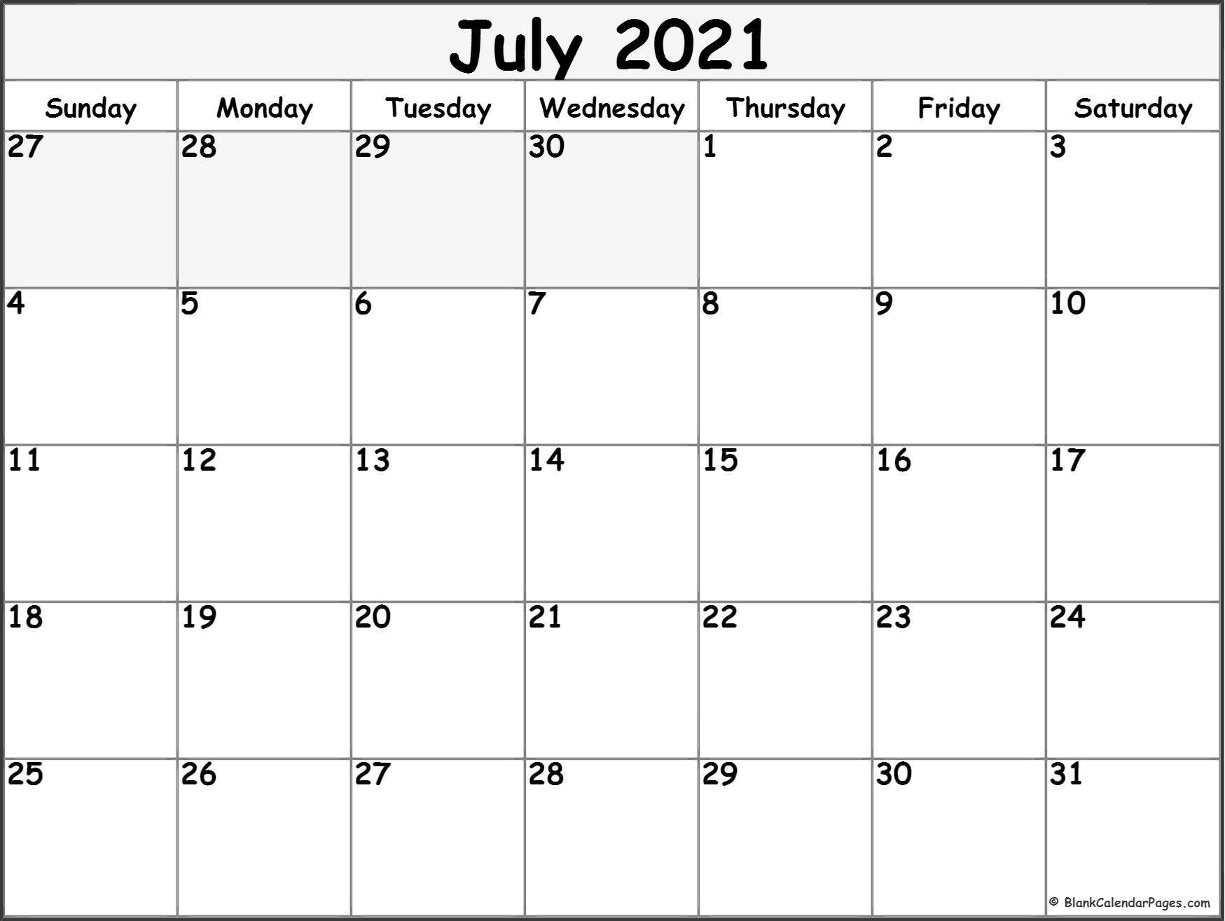July 2021 Blank Calendar Templates. July 2021 Calendar Portrait
