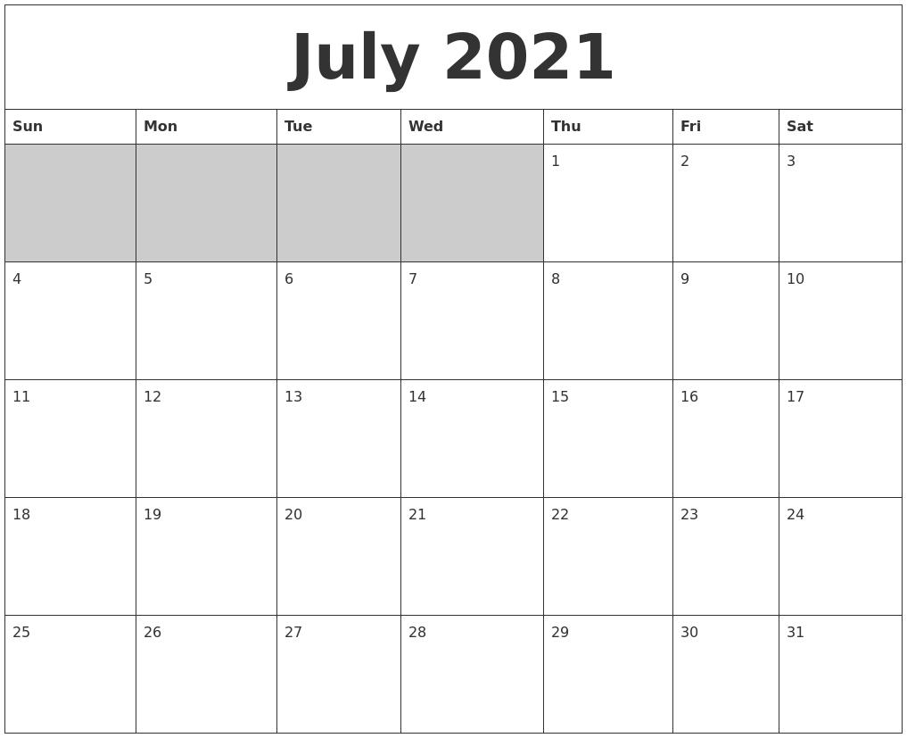 July 2021 Blank Printable Calendar Printable July And August 2021 Calendar