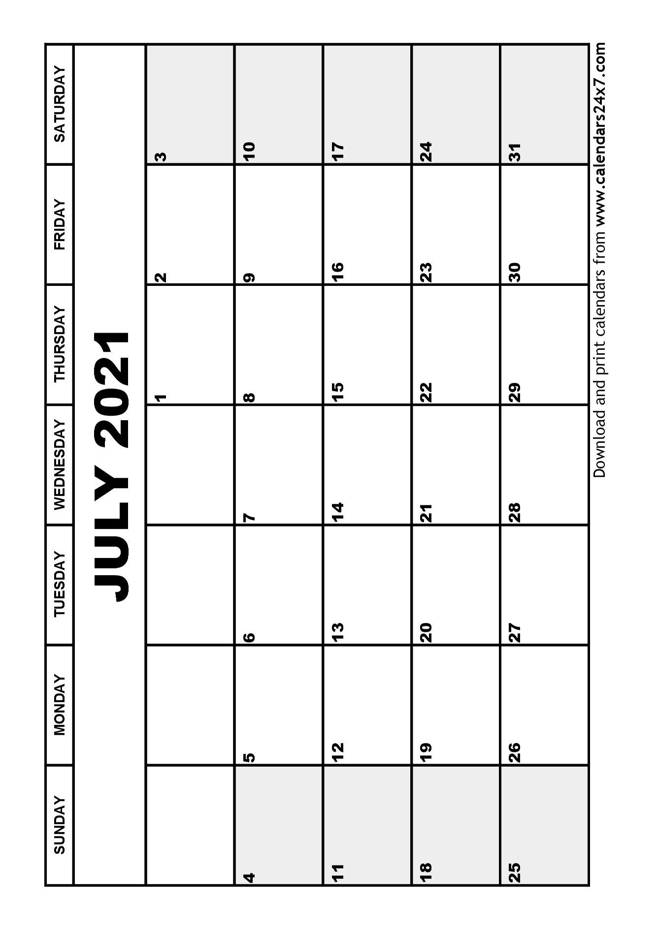 July 2021 Calendar & August 2021 Calendar Blank July 2021 Calendar Printable