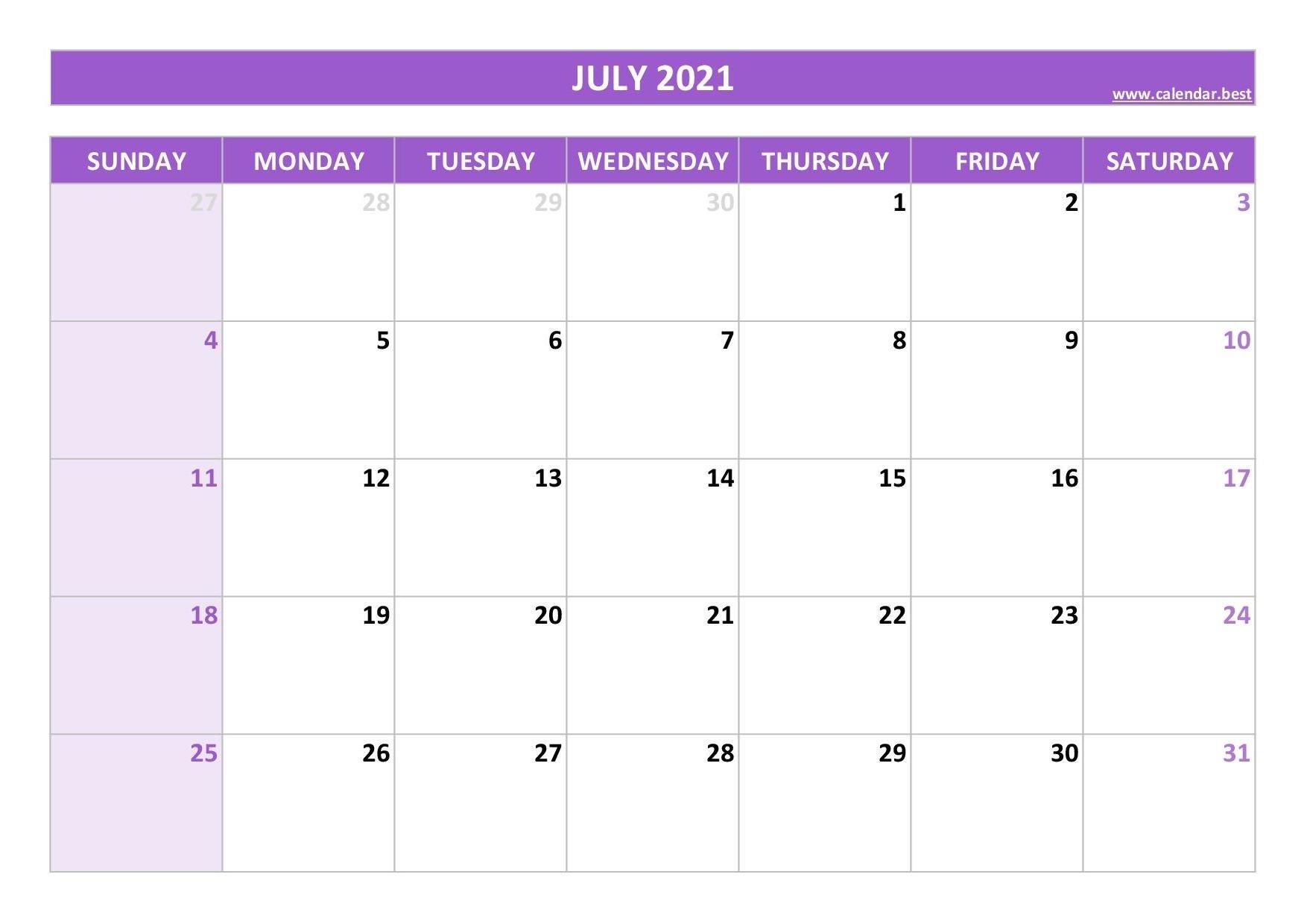 July 2021 Calendar -Calendar.best Month Of July 2021 Calendar