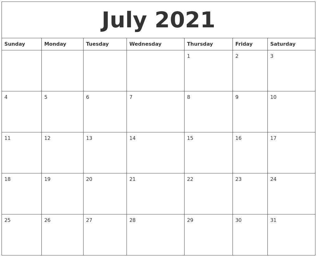 July 2021 Calendar Calendar For The Month Of July 2021