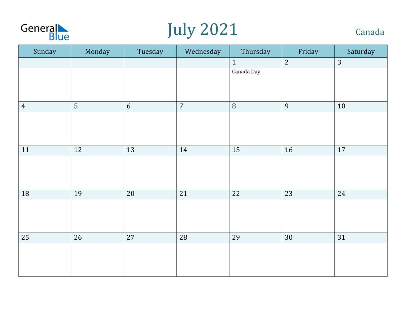 July 2021 Calendar - Canada July 2021 Calendar Pdf Download