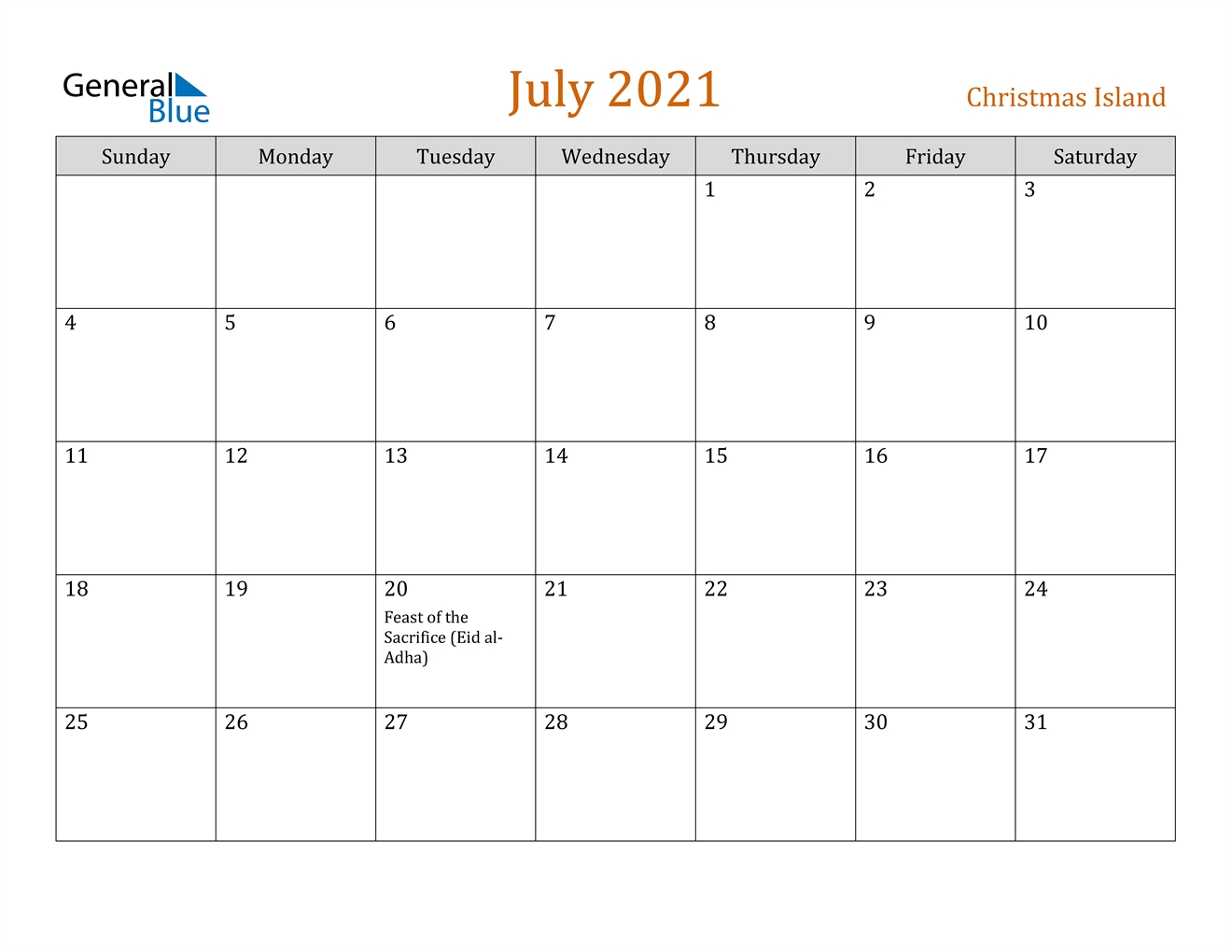 July 2021 Calendar - Christmas Island Calendar For The Month Of July 2021