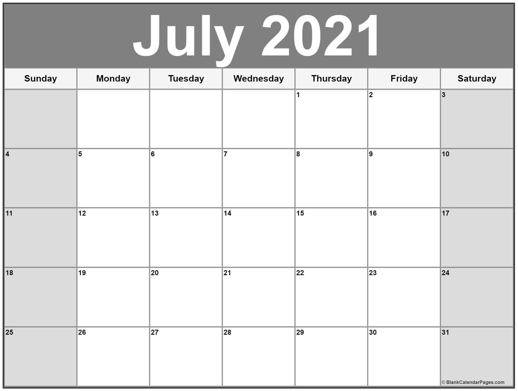 July 2021 Calendar   Free Printable Calendar Month Of July 2021 Calendar