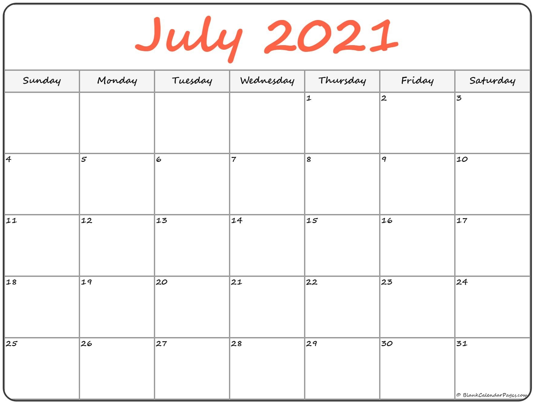 July 2021 Calendar | Free Printable Calendar Printable July And August 2021 Calendar