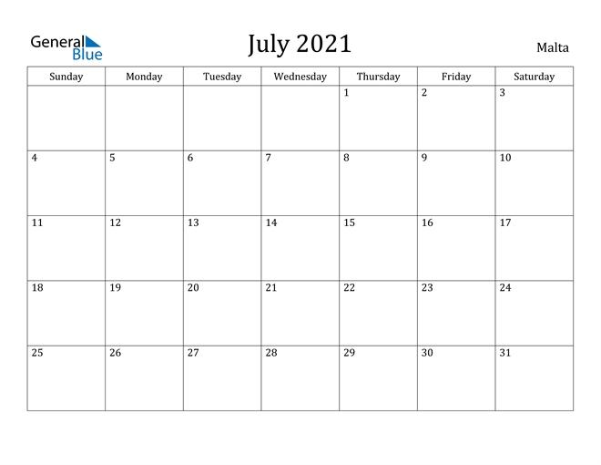 July 2021 Calendar - Malta July 2021 Calendar Canada Printable