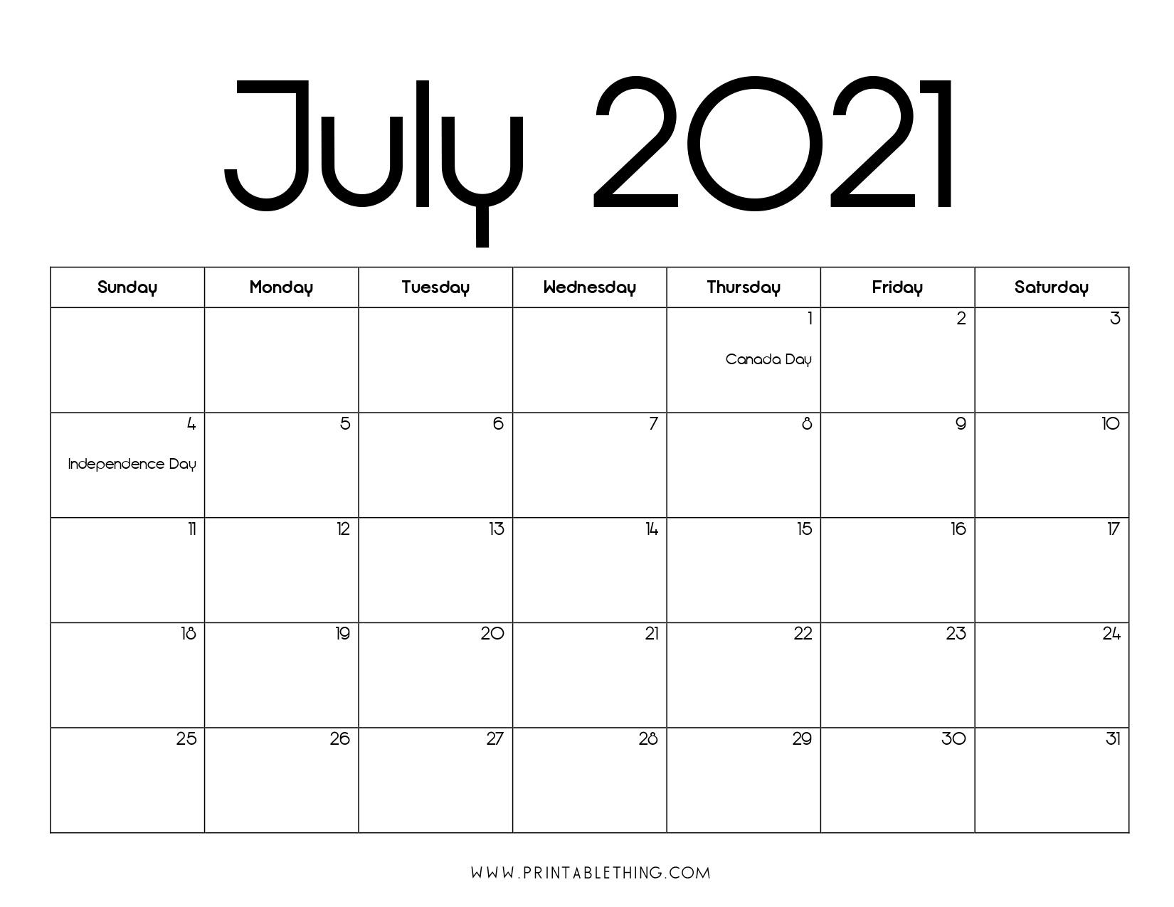 July 2021 Calendar Pdf, July 2021 Calendar Image, Print Pdf & Image Blank July 2021 Calendar Printable