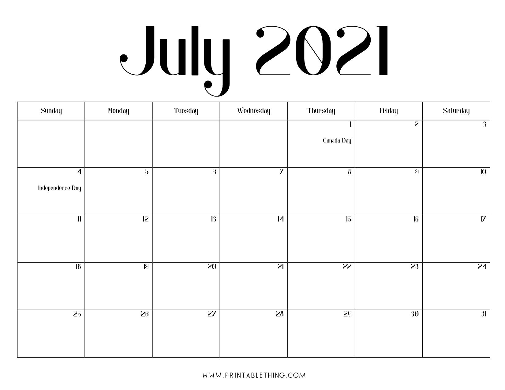 July 2021 Calendar Pdf, July 2021 Calendar Image, Print Pdf & Image Calendar For The Month Of July 2021