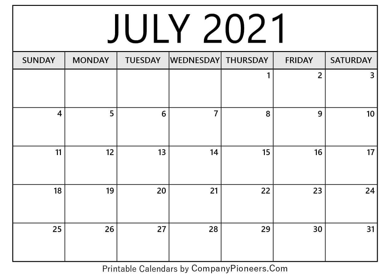 July 2021 Calendar Printable - Printable 2020 Calendars July 2021 Calendar Printable Calendar June July August 2021