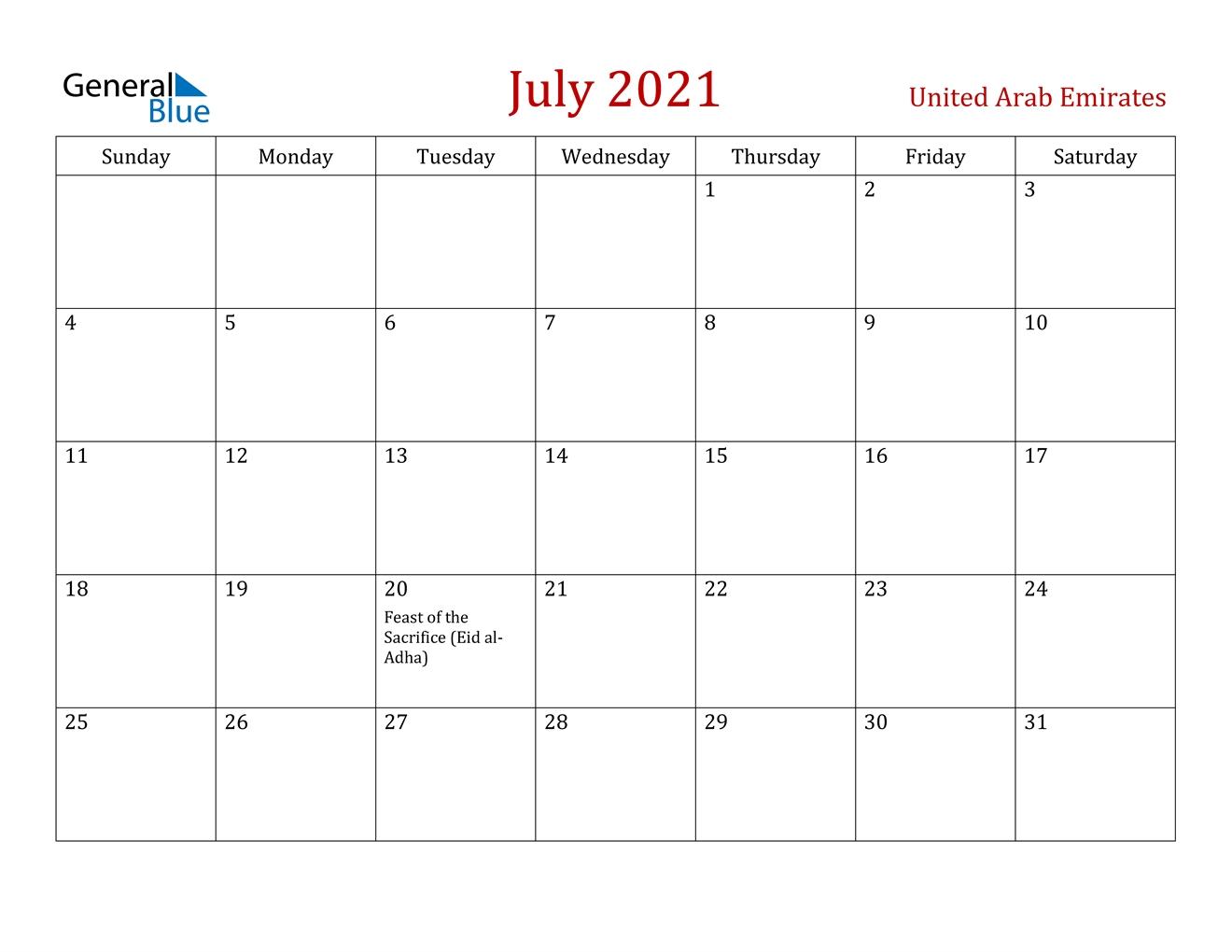 July 2021 Calendar - United Arab Emirates July 2021 Calendar Word