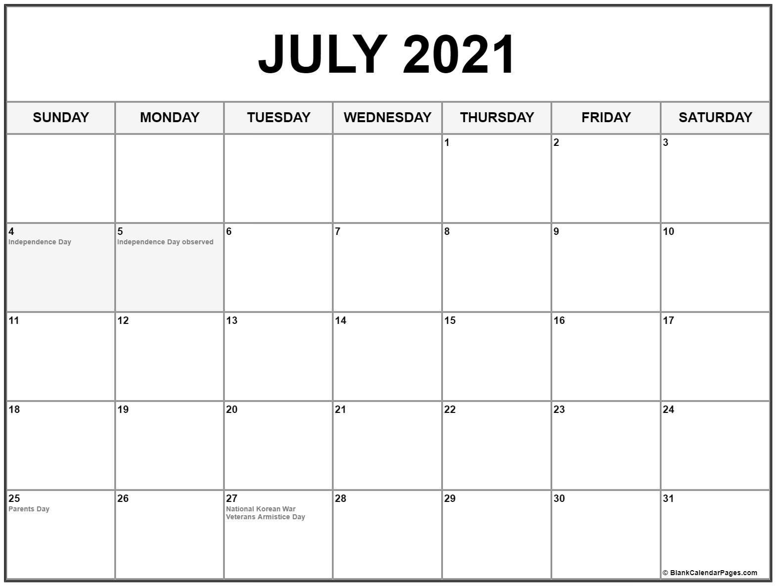 July 2021 Calendar With Holidays - Calendar 2021 July 2021 Calendar Vertical
