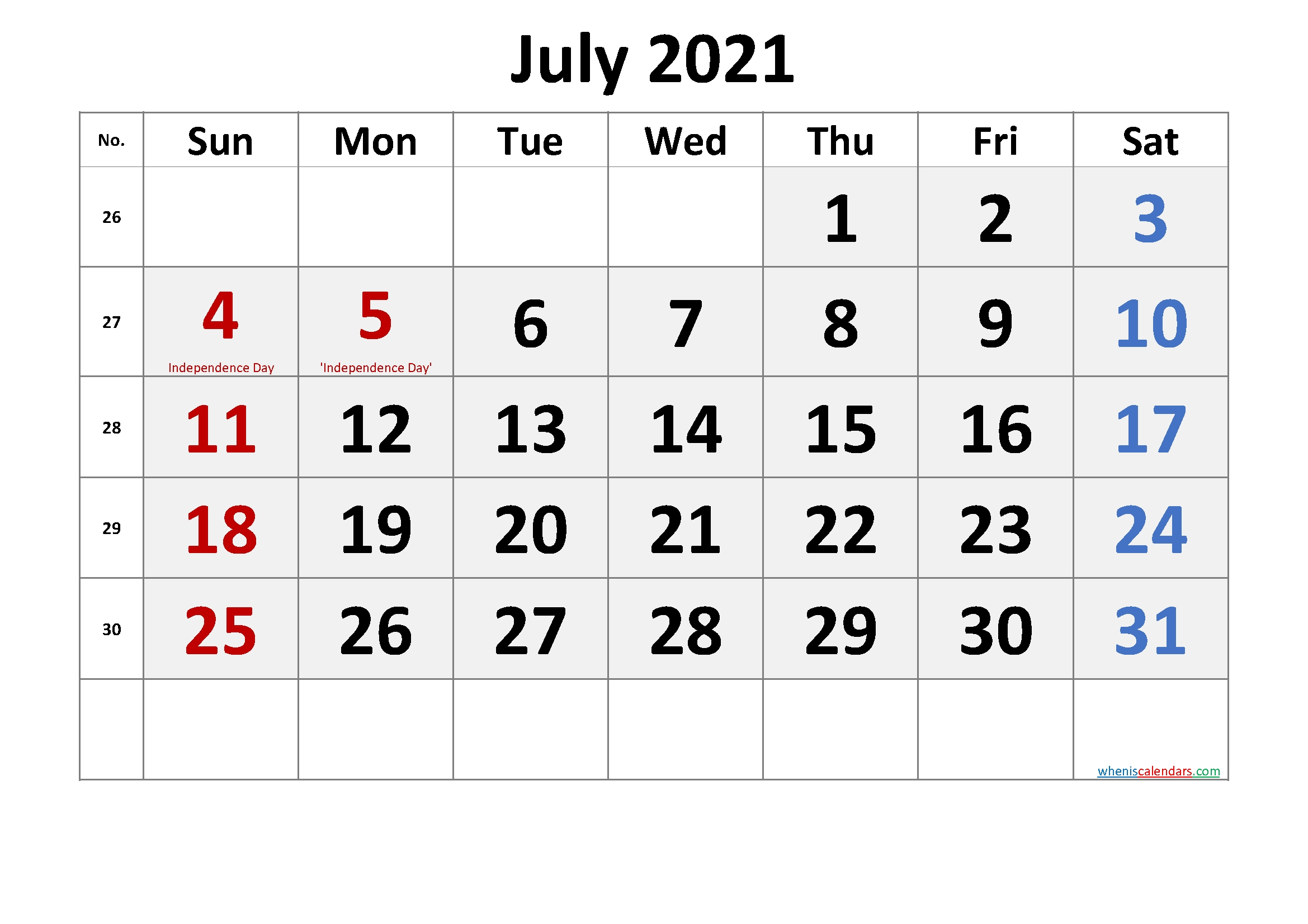 July 2021 Calendar With Holidays Printable-Template No.cr21M55 July 2021 Calendar Pdf Download