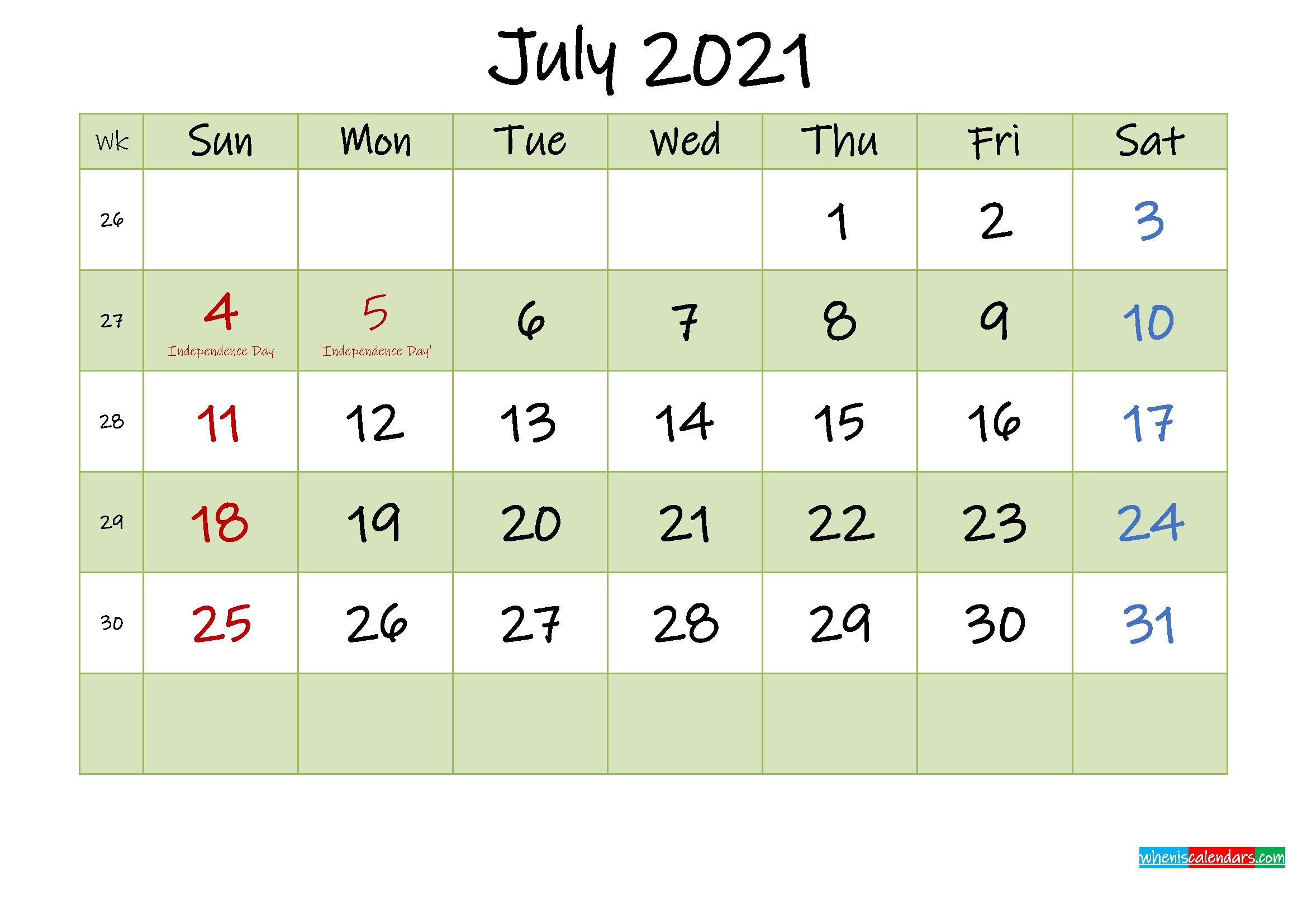 July 2021 Calendar With Holidays Printable - Template No.ink21M451 - Free 2020 And 2021 Calendar July 2021 Tithi Calendar