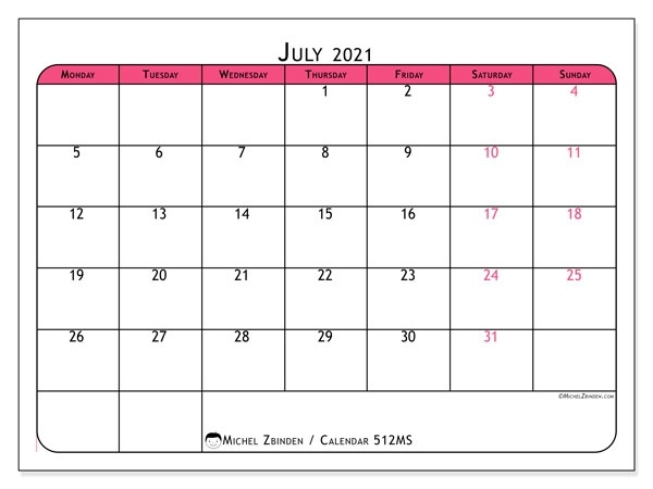 "July 2021 Calendars ""Monday - Sunday"" - Michel Zbinden En July 2021 Tithi Calendar"