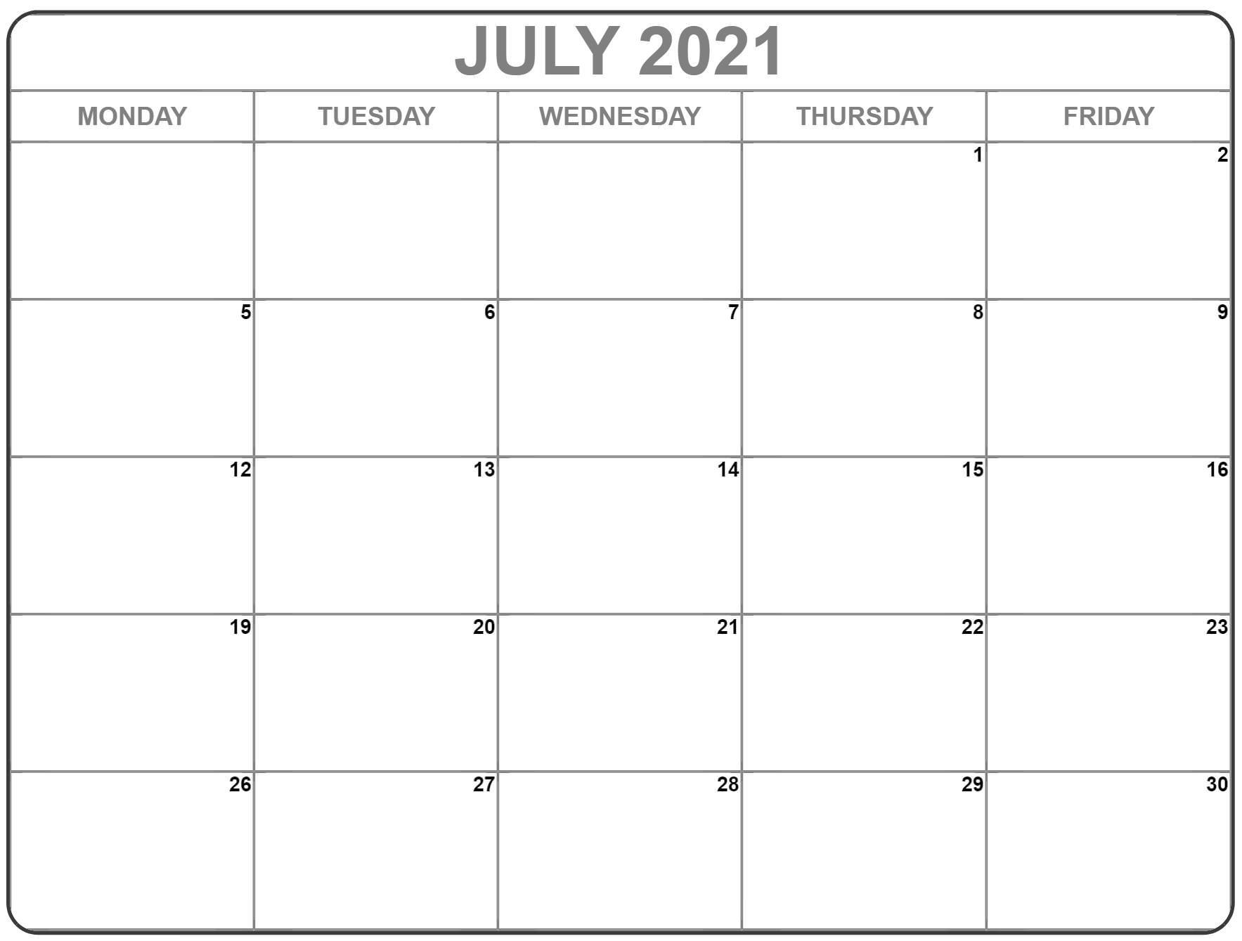 July 2021 Monday Calendar | Monday To Sunday Blank Calendar July 2020 To June 2021