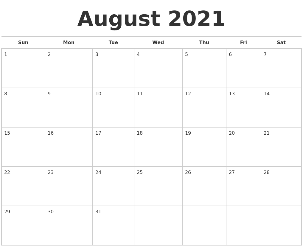 July 2021 Monthly Calendar Template Printable July And August 2021 Calendar