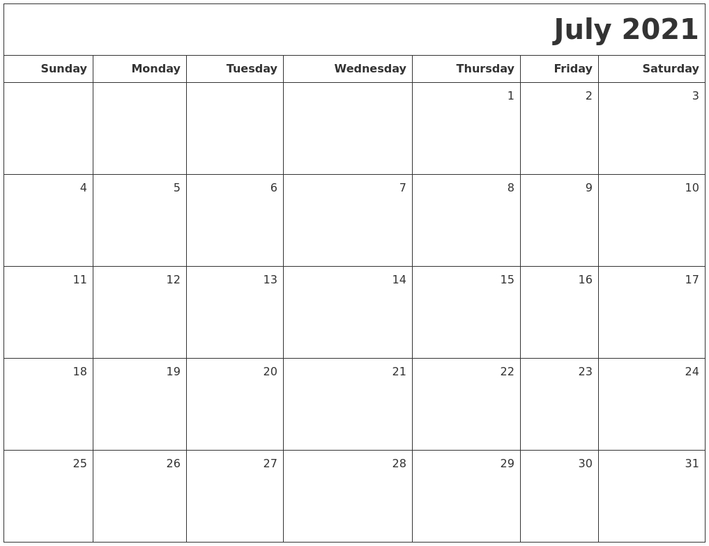 July 2021 Printable Blank Calendar Blank Calendar July 2020 To June 2021