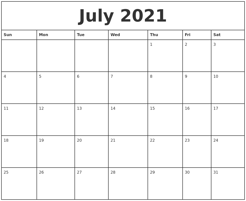 July 2021 Printable Monthly Calendar Printable July And August 2021 Calendar