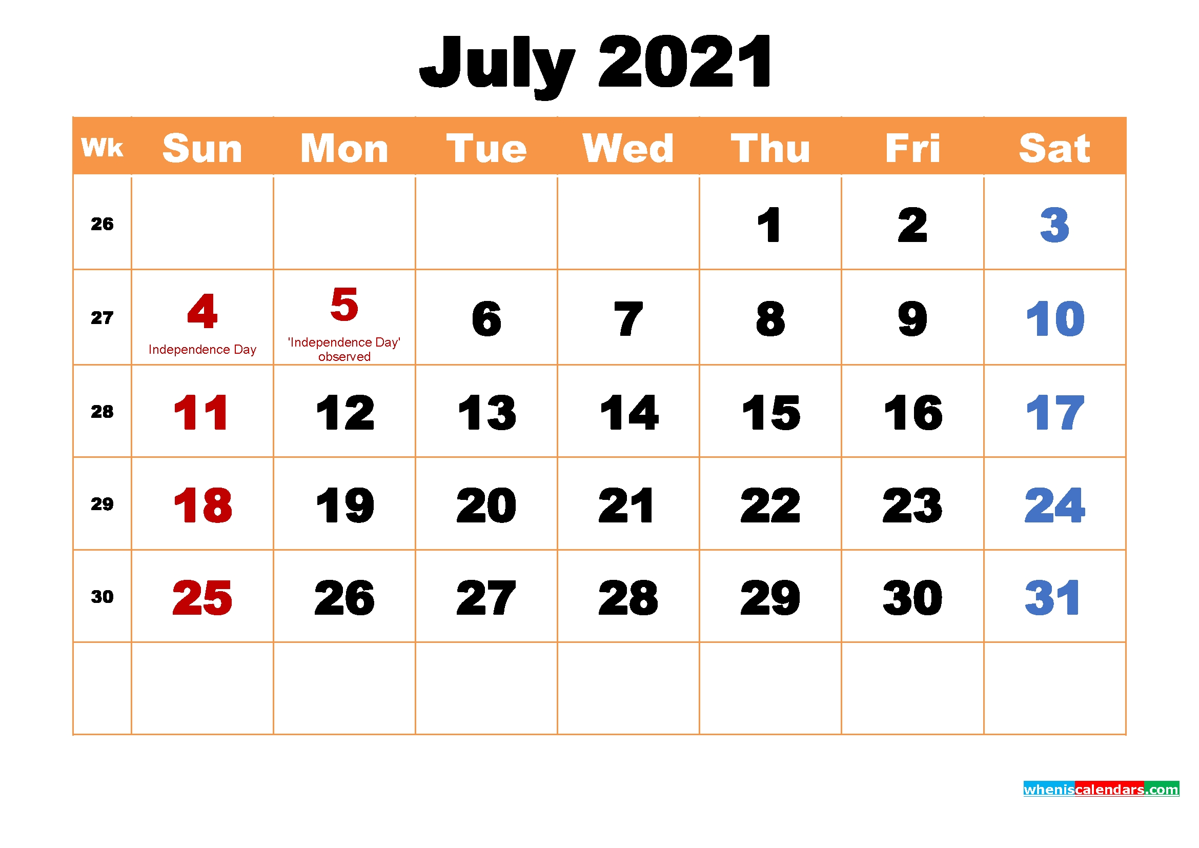 July 2021 Printable Monthly Calendar With Holidays | Free Printable 2020 Calendar With Holidays July 2021 Calendar Word