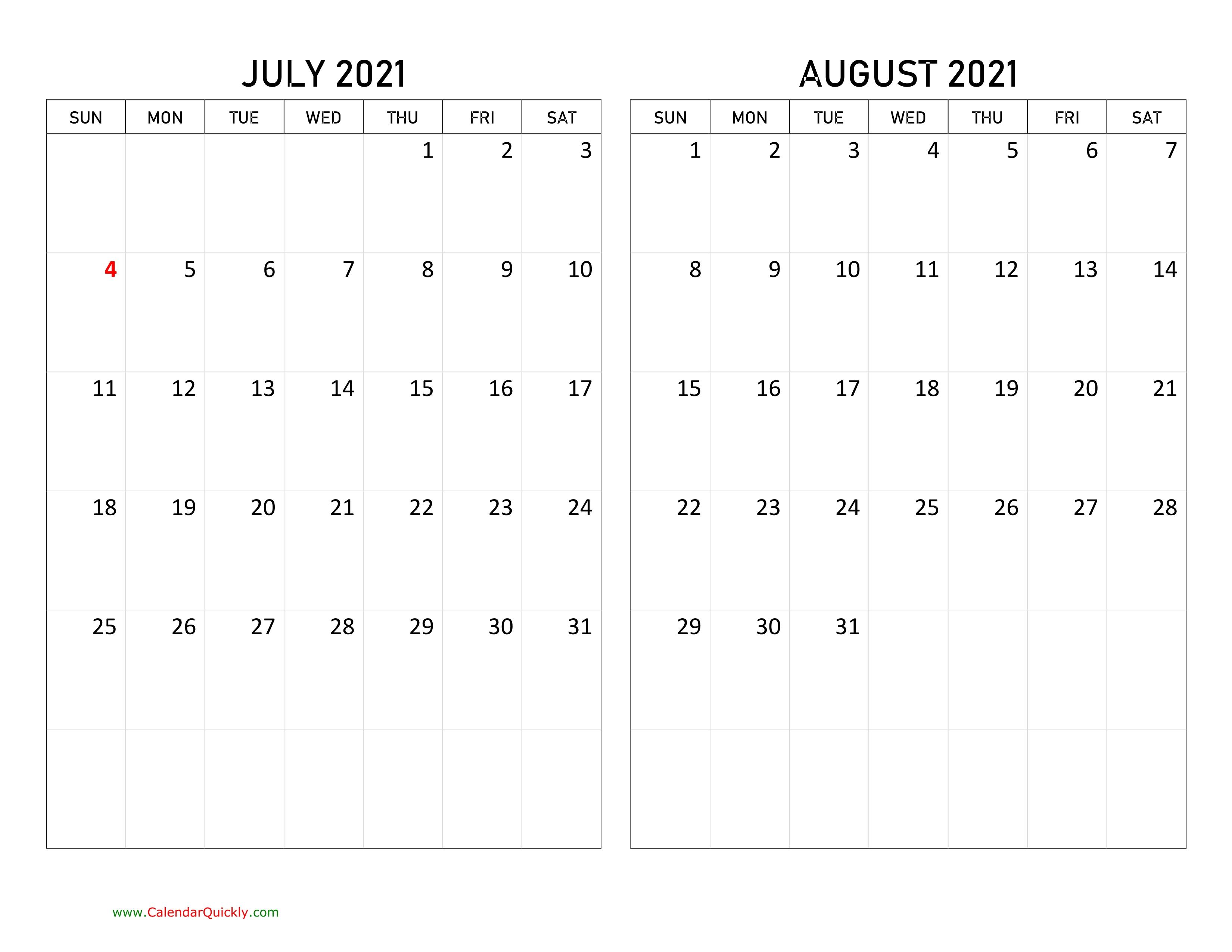 July And August 2021 Calendar | Calendar Quickly July 2021 Calendar Vertical