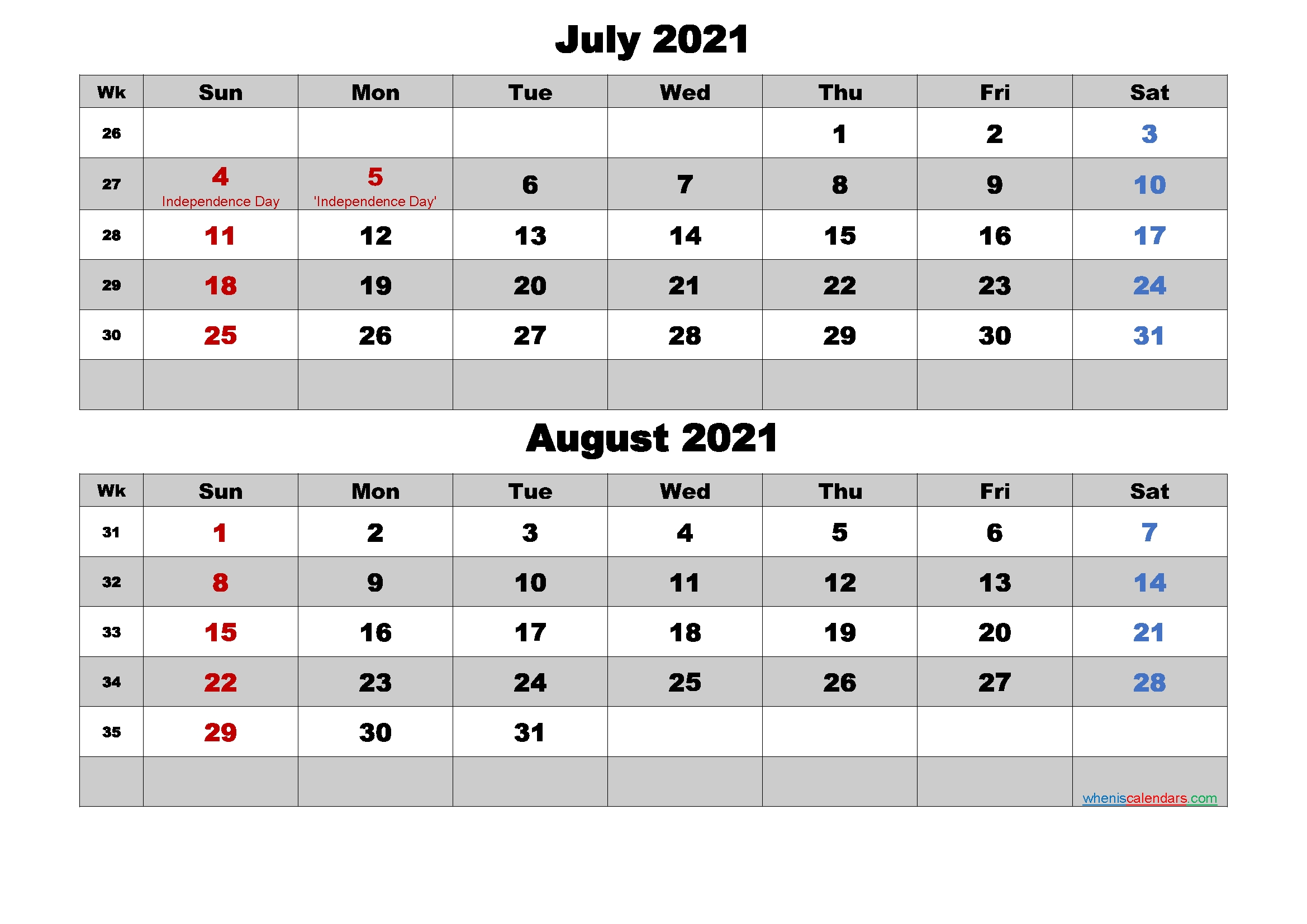 July And August 2021 Calendar With Holidays - Free Printable 2020 Monthly Calendar With Holidays July 2021 Calendar Portrait