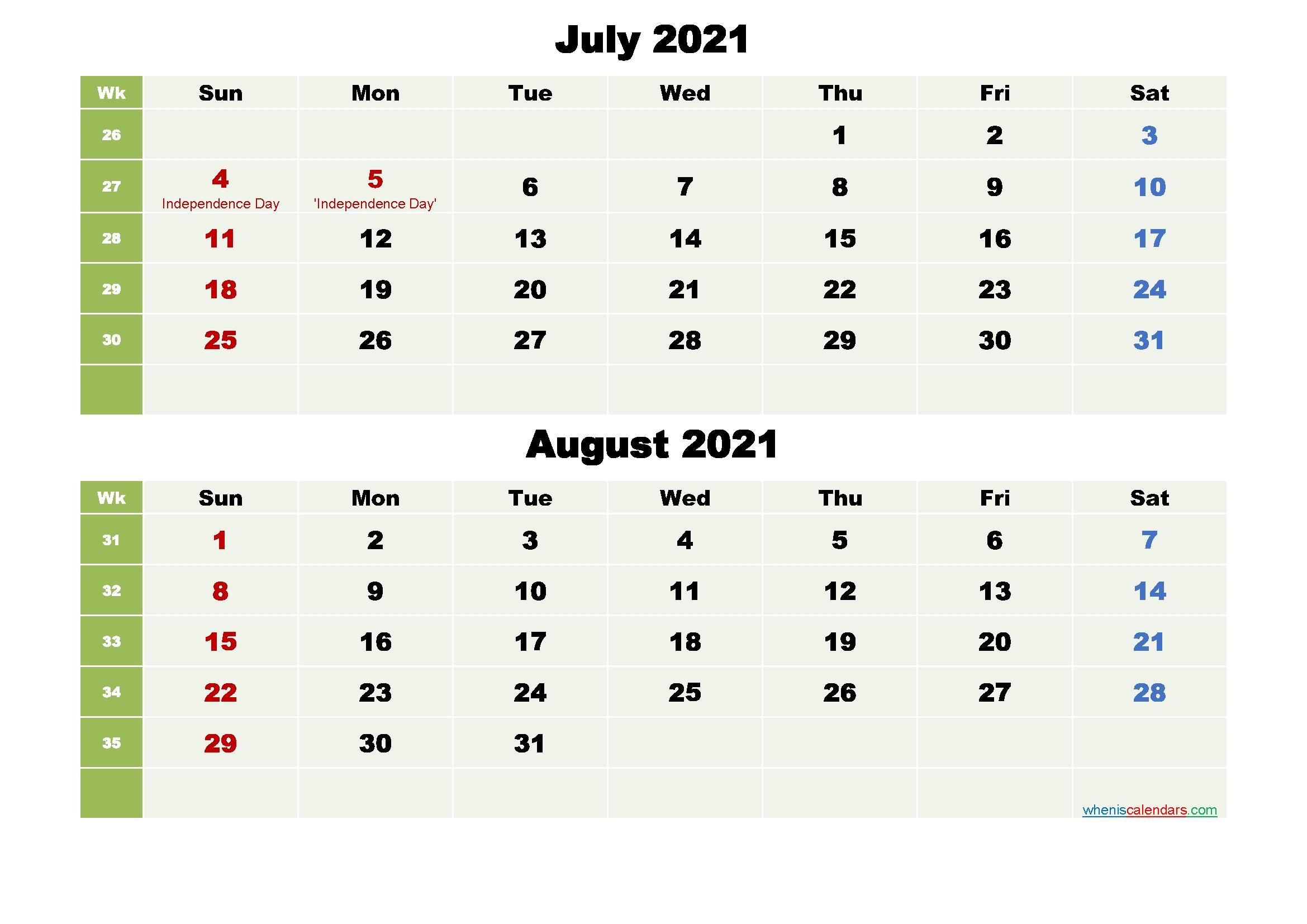July And August Calendar 2021 Printable Word, Pdf - Free Printable 2020 Monthly Calendar With July 2021 Calendar Vertical