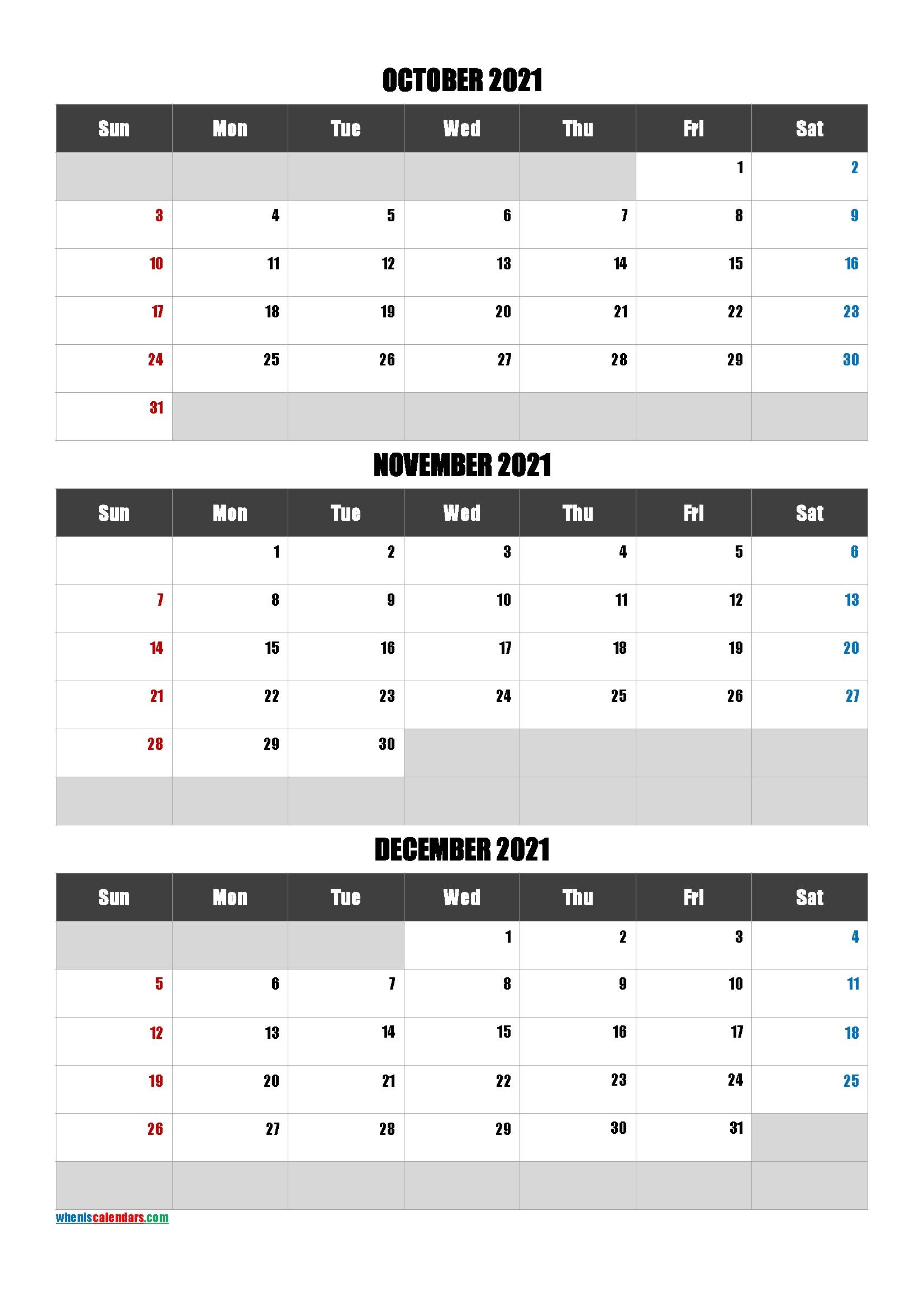 July August September 2021 Calendar Printable Free [Q1-Q2-Q3-Q4] | Free Printable 2020 Calendar October November December 2021 Calendar