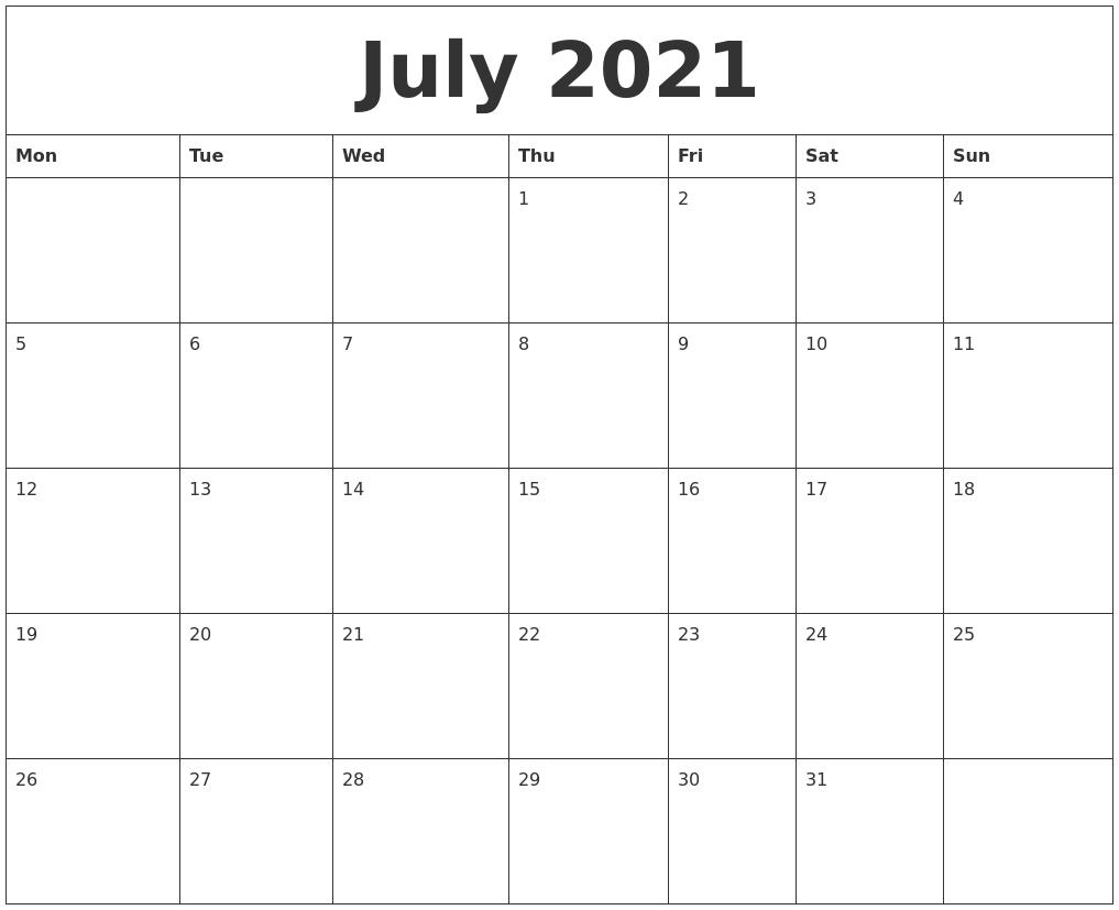 July Calendar 2021 Printable Big Numbers | Month Calendar Printable July 2021 Islamic Calendar