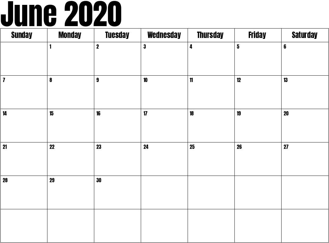 June 2020 Calendar June 2020 To June 2021 Calendar Printable