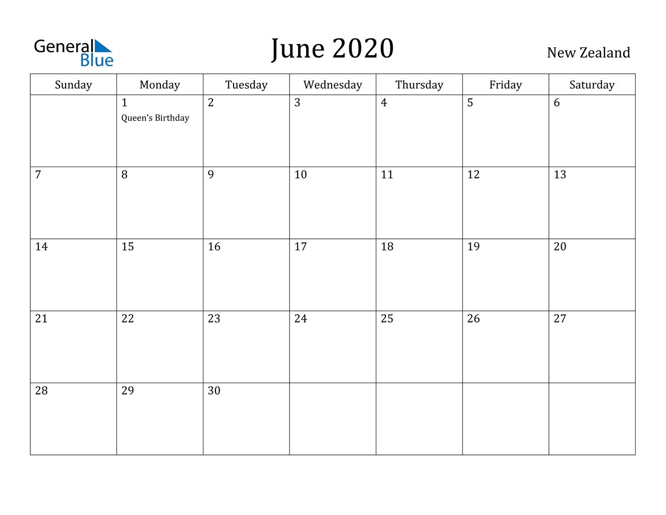 June 2020 Calendar - New Zealand June 2021 Calendar Canada
