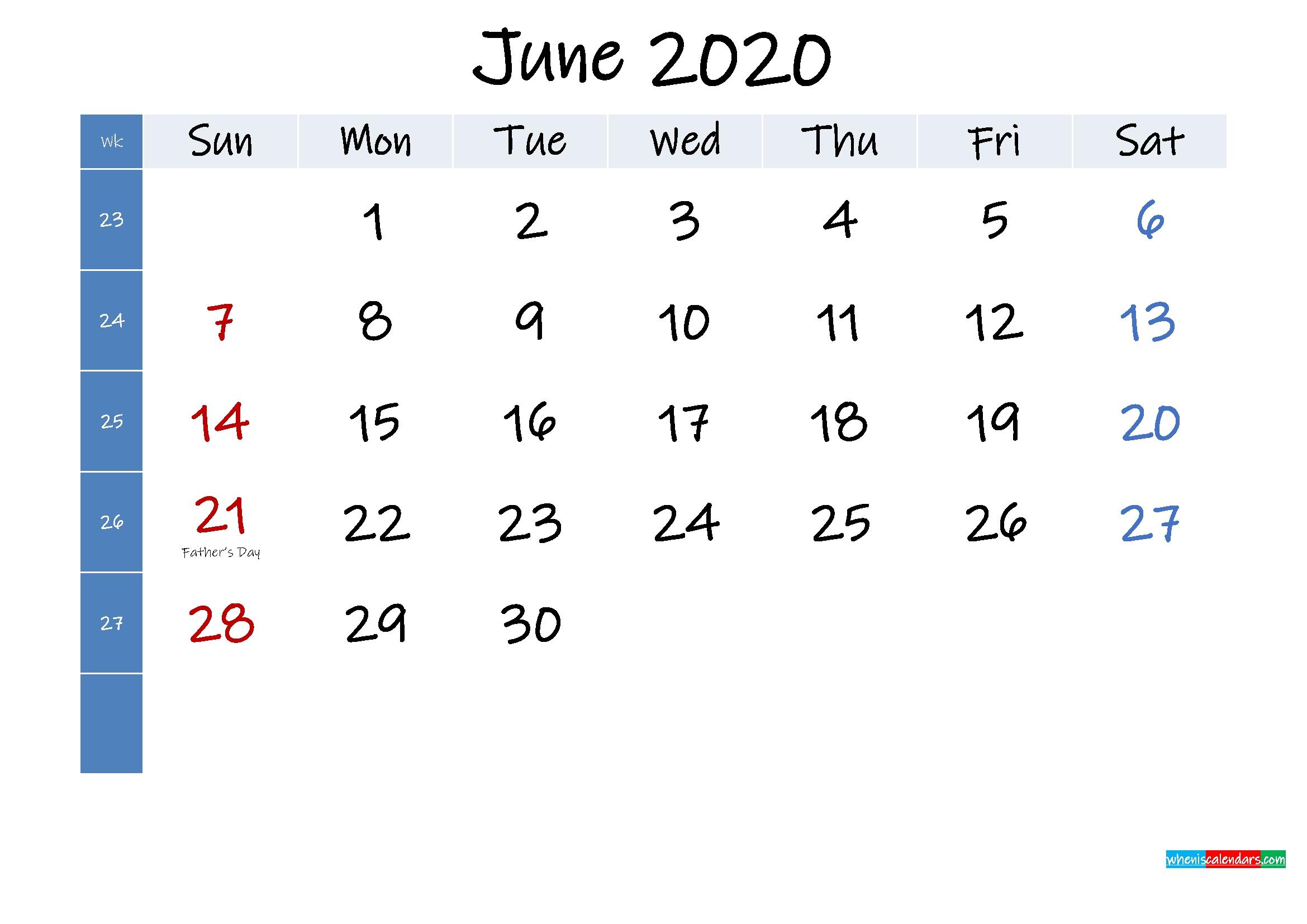 June 2020 Free Printable Calendar With Holidays - Template No.ink20M354 - Free Printable 2021 June 2021 Calendar With Holidays Usa