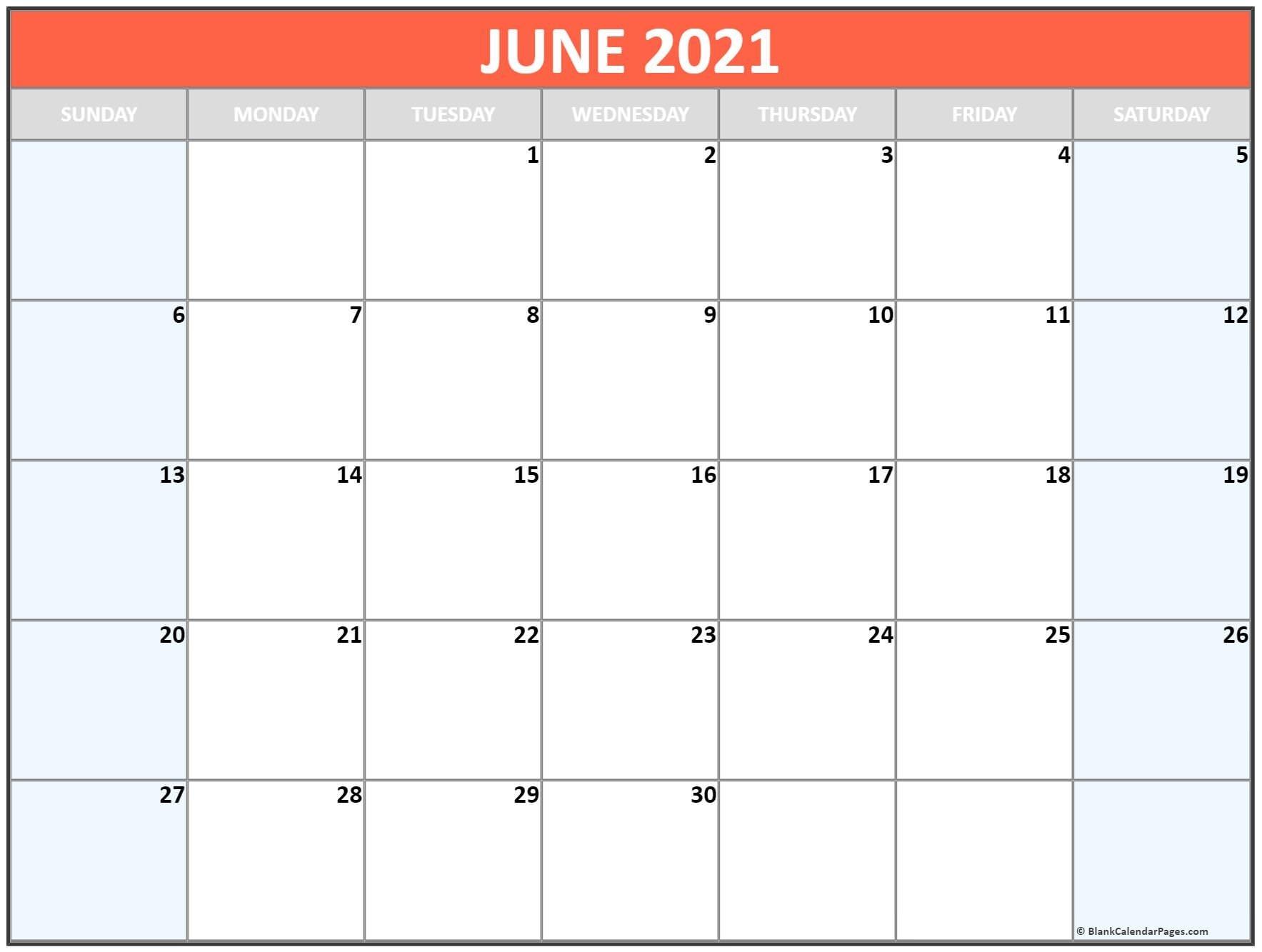 June 2021 Blank Calendar Templates. June 2020 To June 2021 Calendar Printable