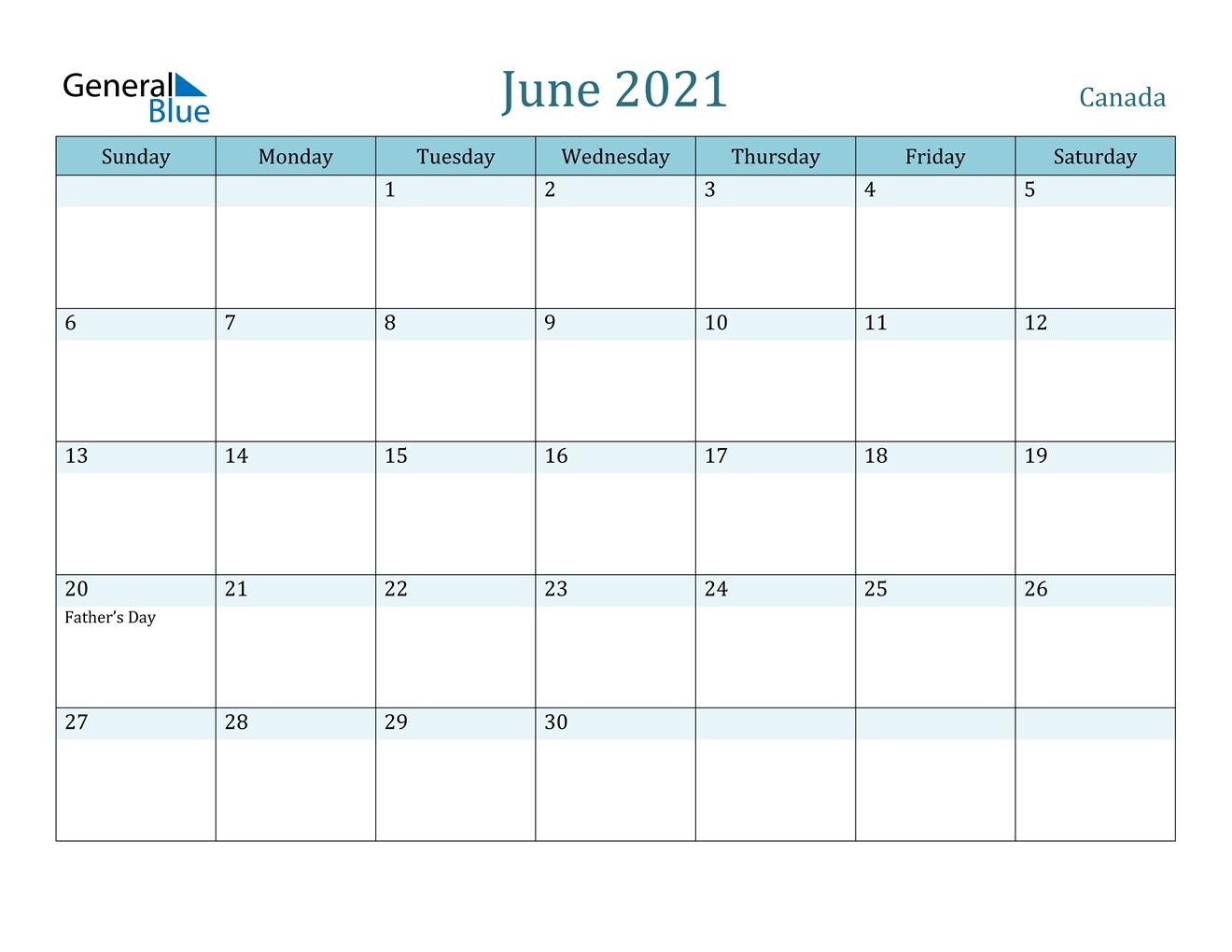 June 2021 Calendar - Canada June 2021 Calendar Kuda