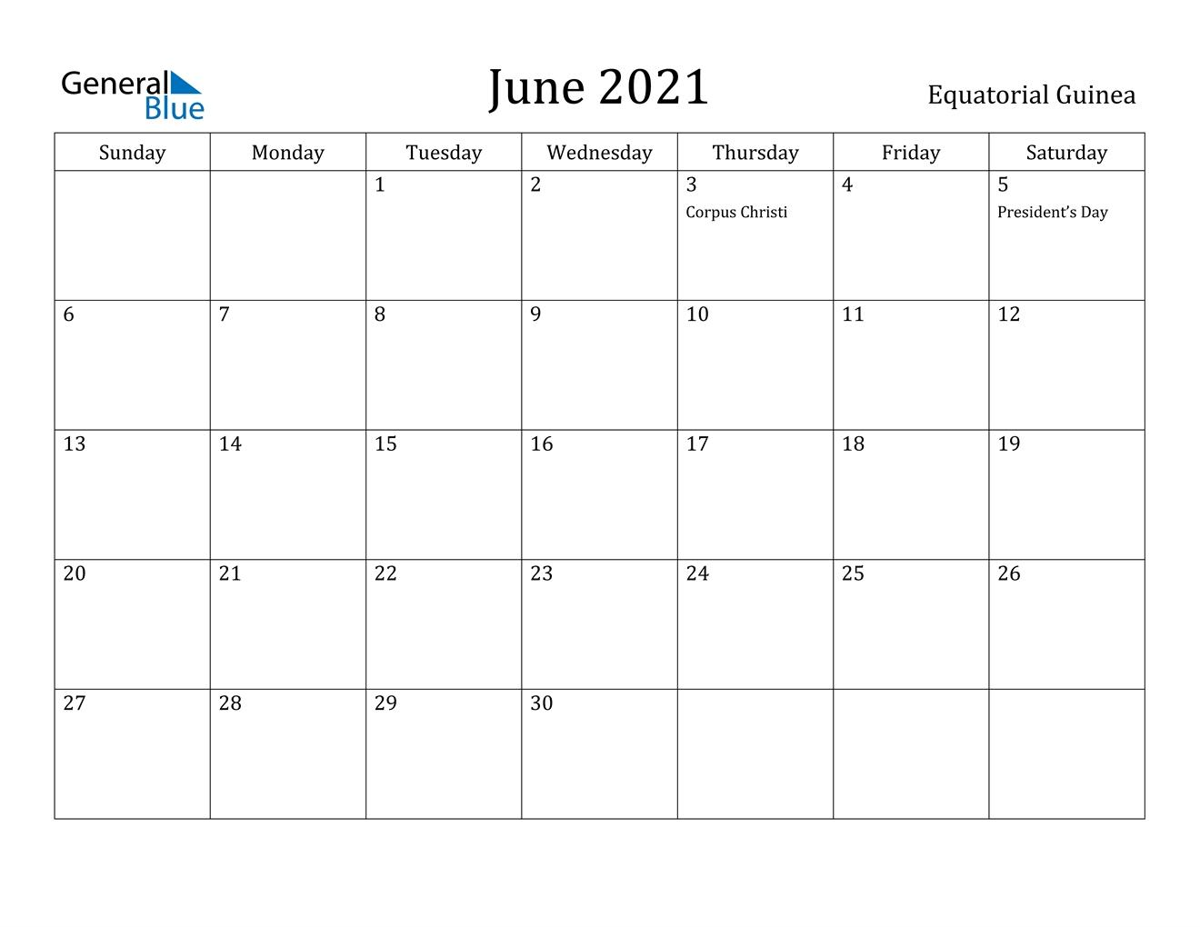 June 2021 Calendar - Equatorial Guinea June 2021 Calendar Kuda