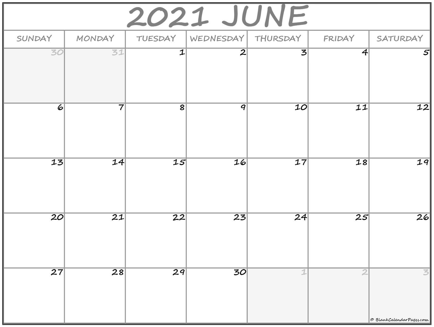 June 2021 Calendar | Free Printable Calendar Blank Calendar July 2020 To June 2021