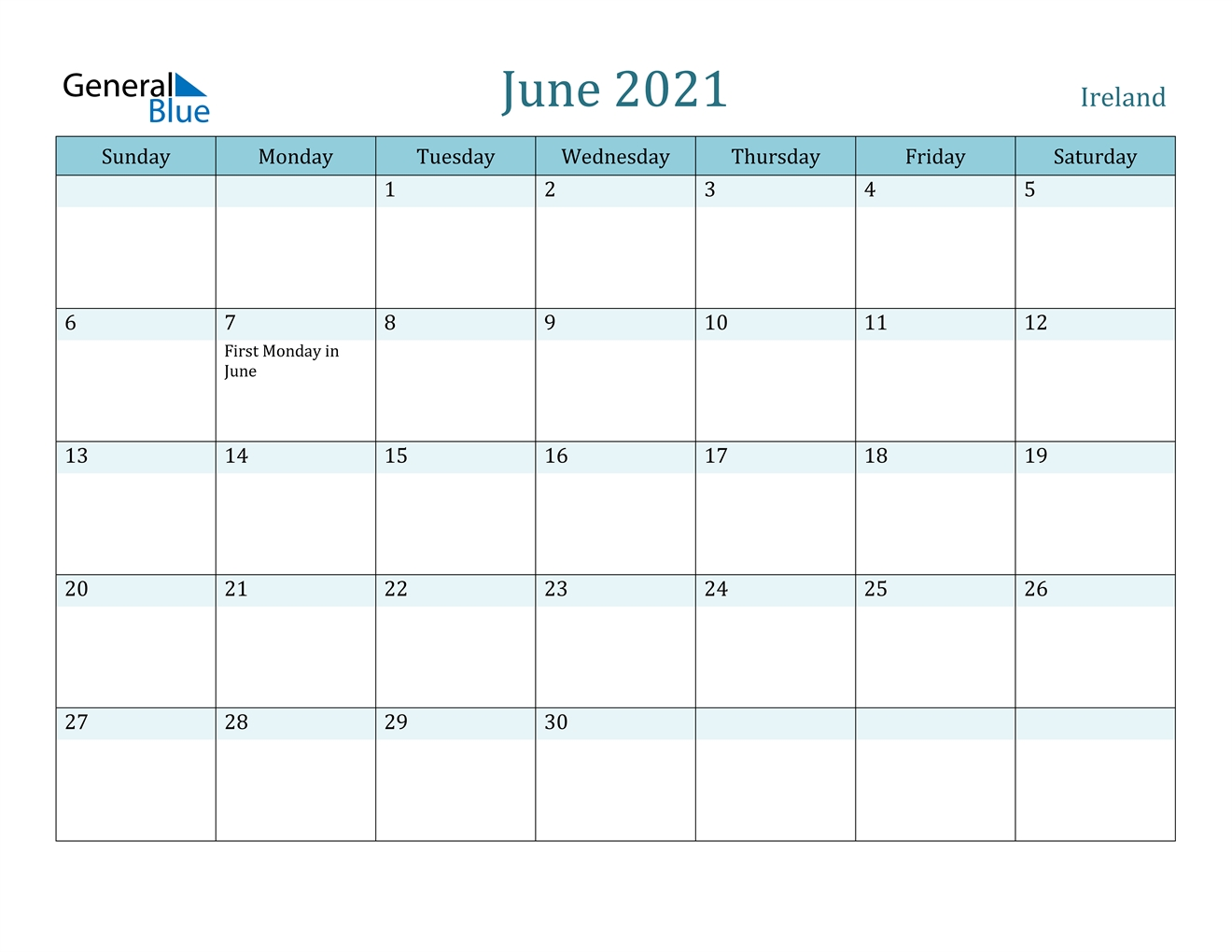 June 2021 Calendar - Ireland June 2021 Calendar Printable