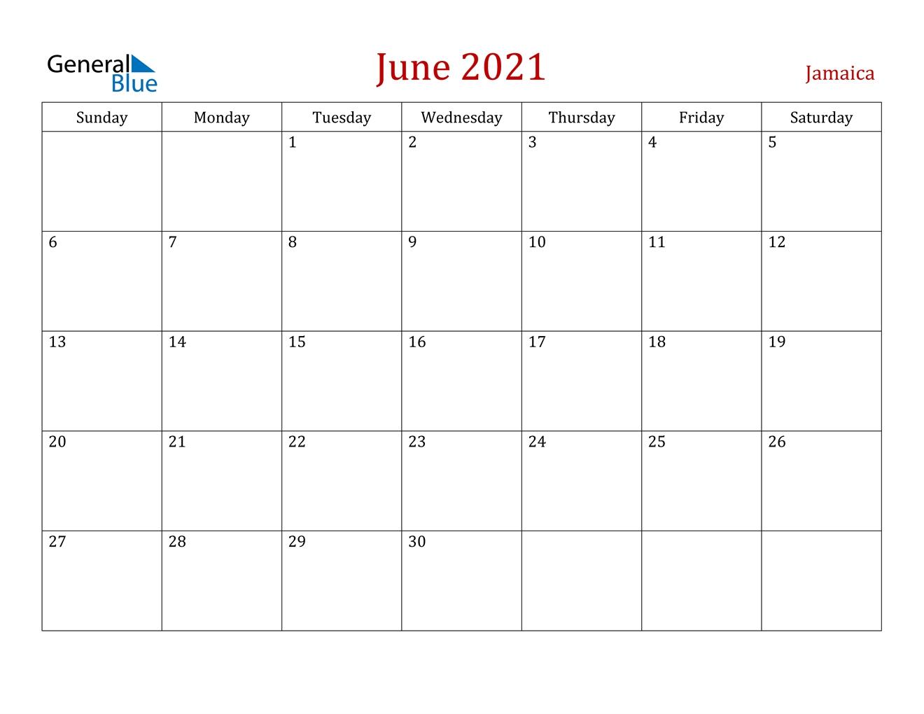 June 2021 Calendar - Jamaica June 2021 Fishing Calendar