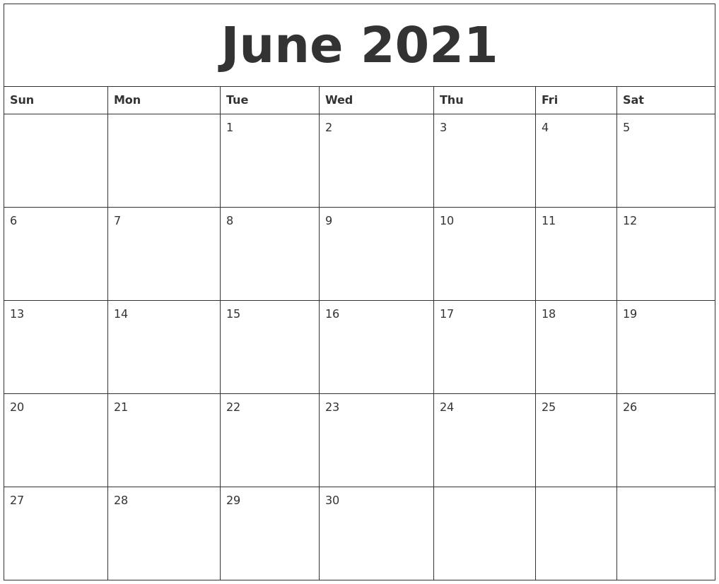 June 2021 Calendar June 2020 To June 2021 Calendar Printable