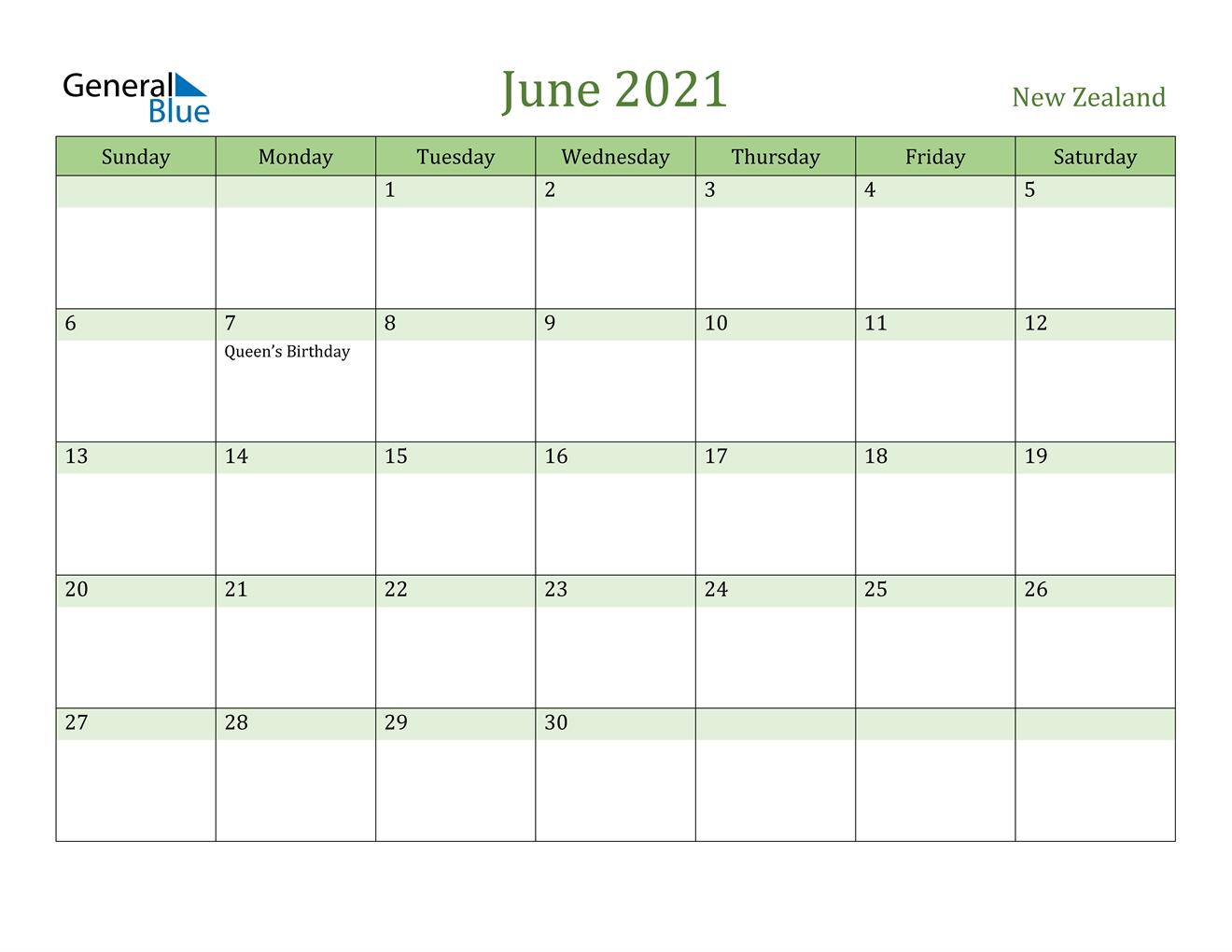June 2021 Calendar - New Zealand June 2021 Calendar With Holidays Printable