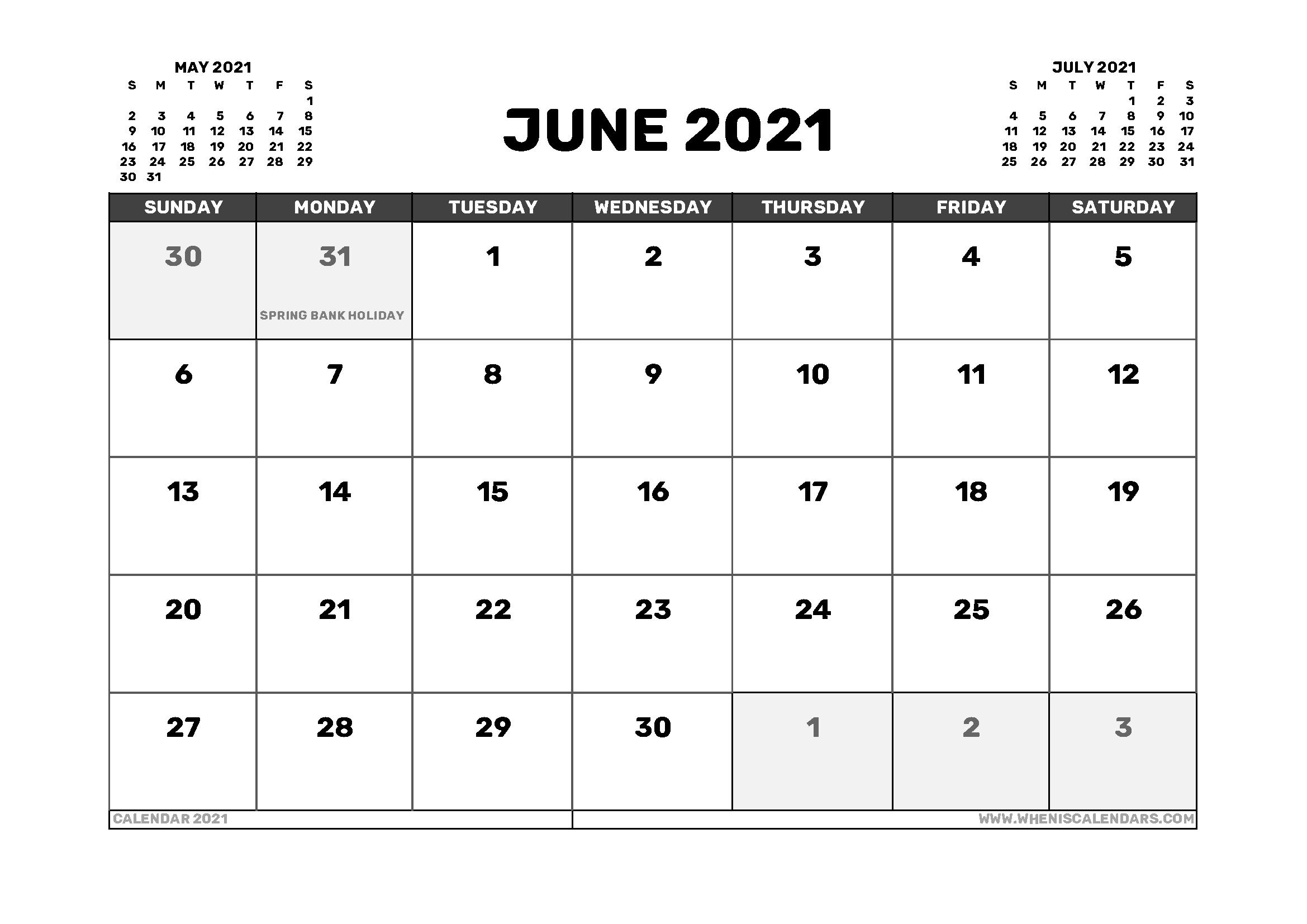June 2021 Calendar Uk With Holidays June 2021 Calendar With Holidays Usa