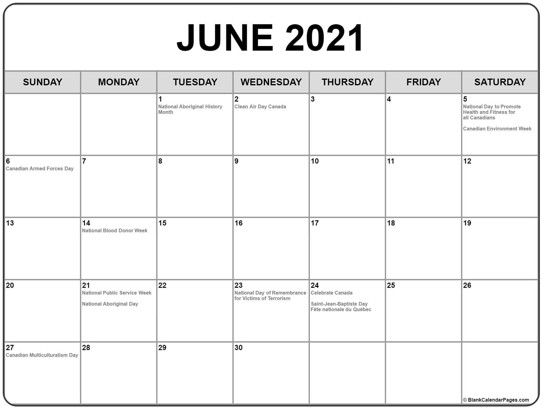 June 2021 Calendar With Holidays - Calendar 2021 June 2021 Calendar With Holidays Printable